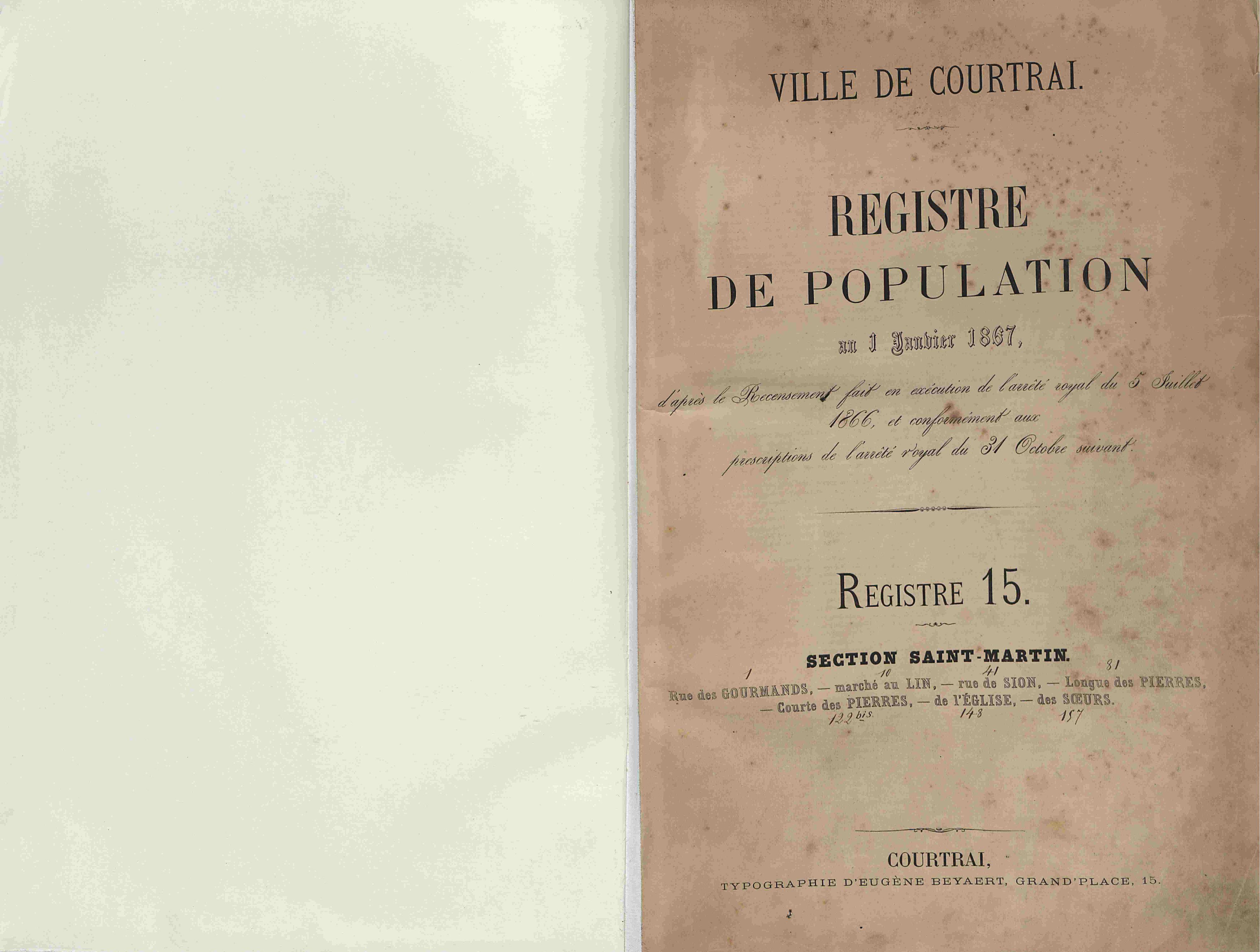 Bevolkingsregister Kortrijk 1866 boek 15