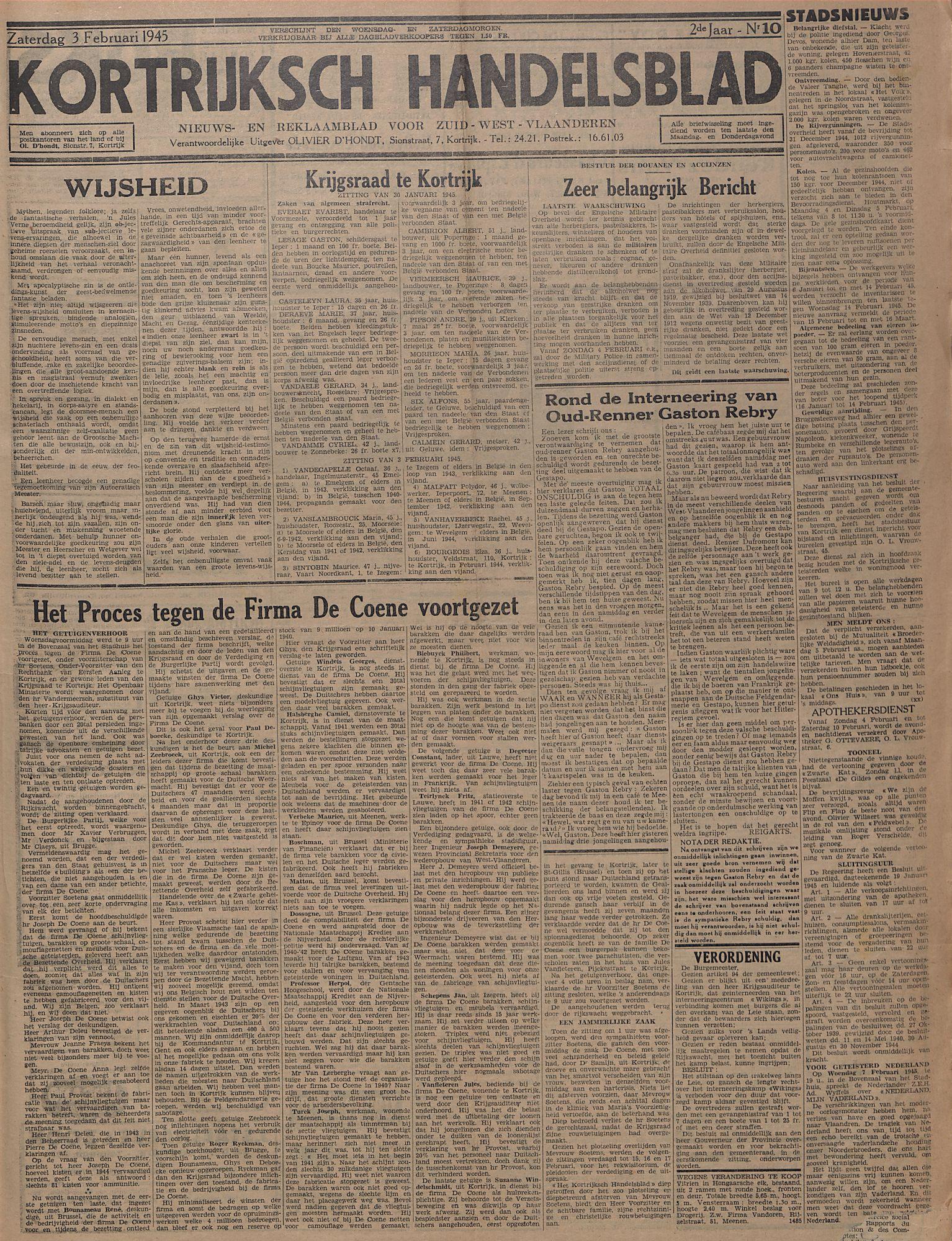 Kortrijksch Handelsblad 3 februari 1945 Nr10 p1