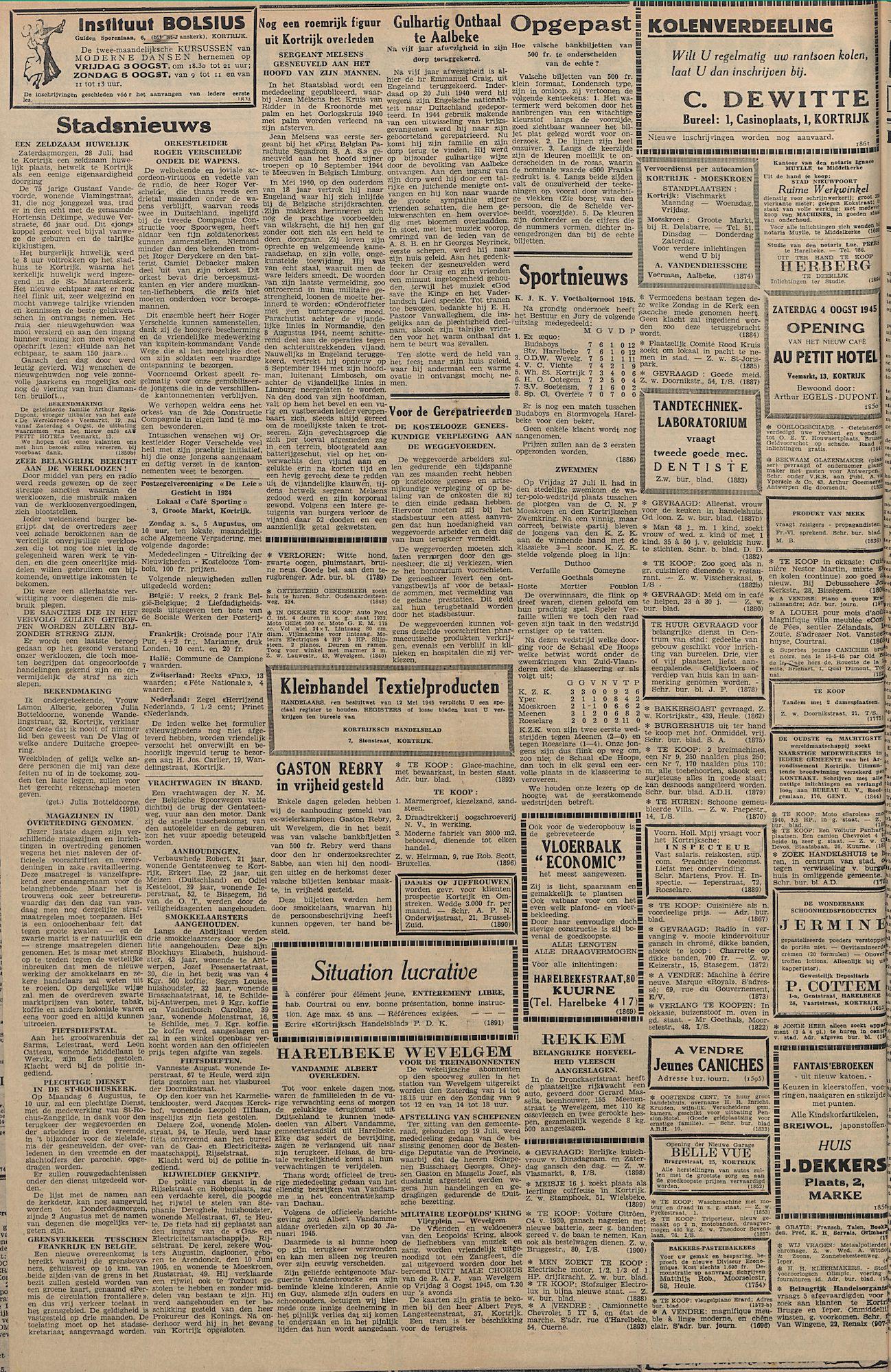 Kortrijksch Handelsblad 1 augustus 1945 Nr61 p2