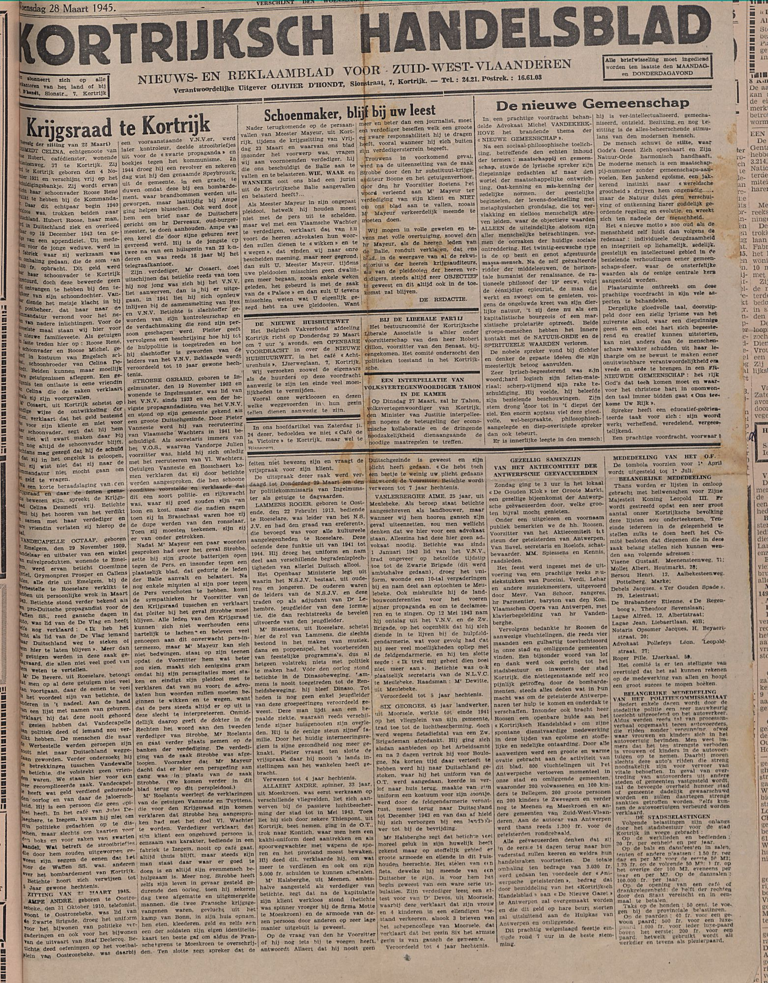 Kortrijksch Handelsblad 28 maart 1945 Nr25  p1