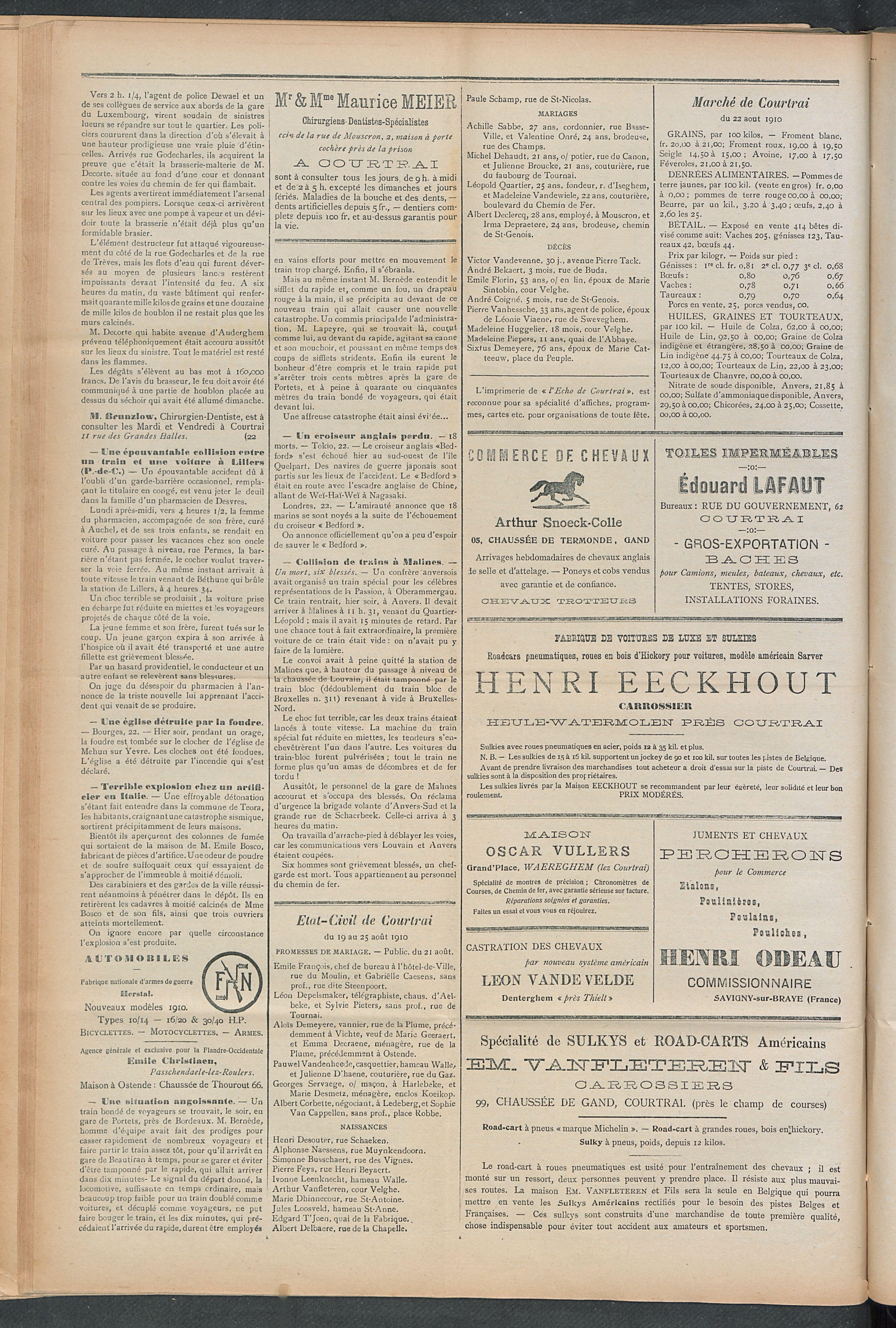L'echo De Courtrai 1910-08-25 p2