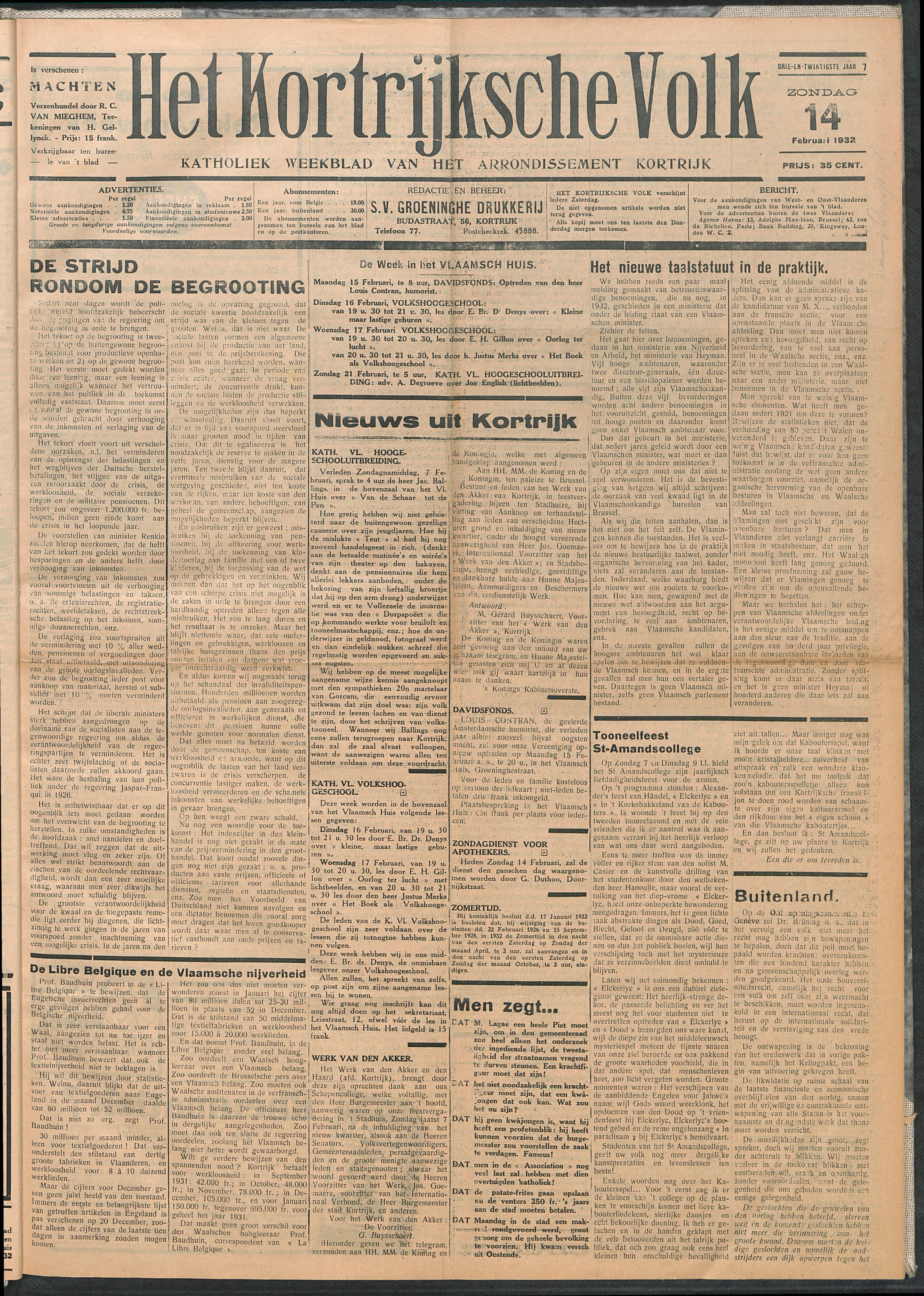 Het Kortrijksche Volk 1932-02-14 p1