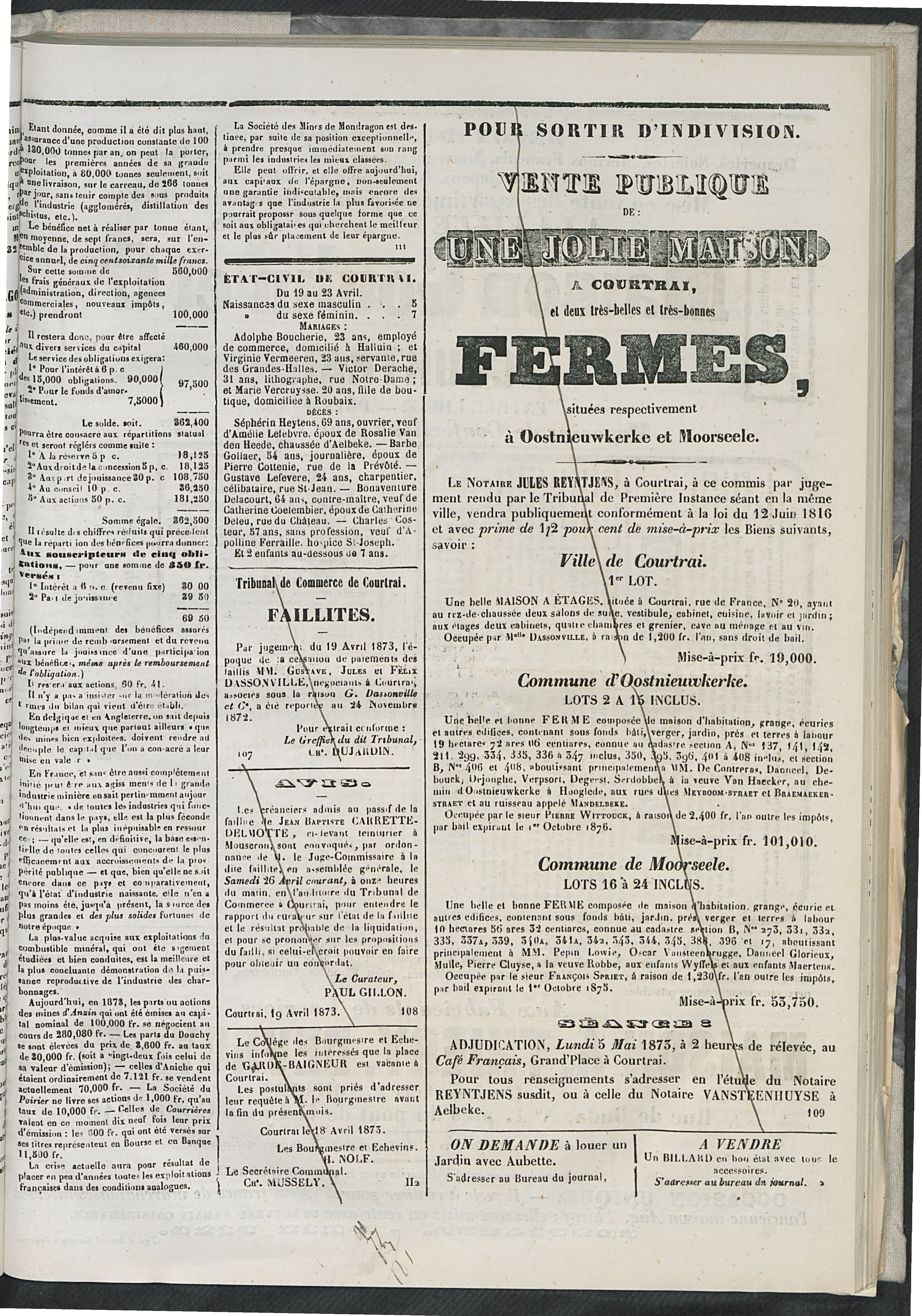 L'echo De Courtrai 1873-04-24 p3