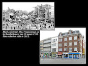 Leiestraat in 1944 en 2015.
