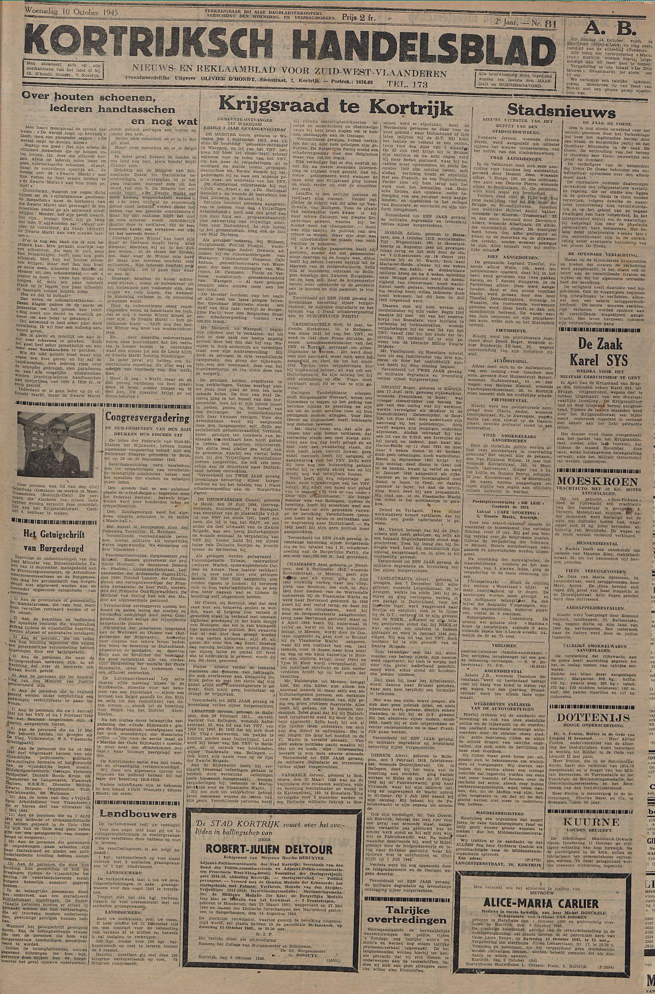 Kortrijksch Handelsblad 10 october 1945 Nr81 p1