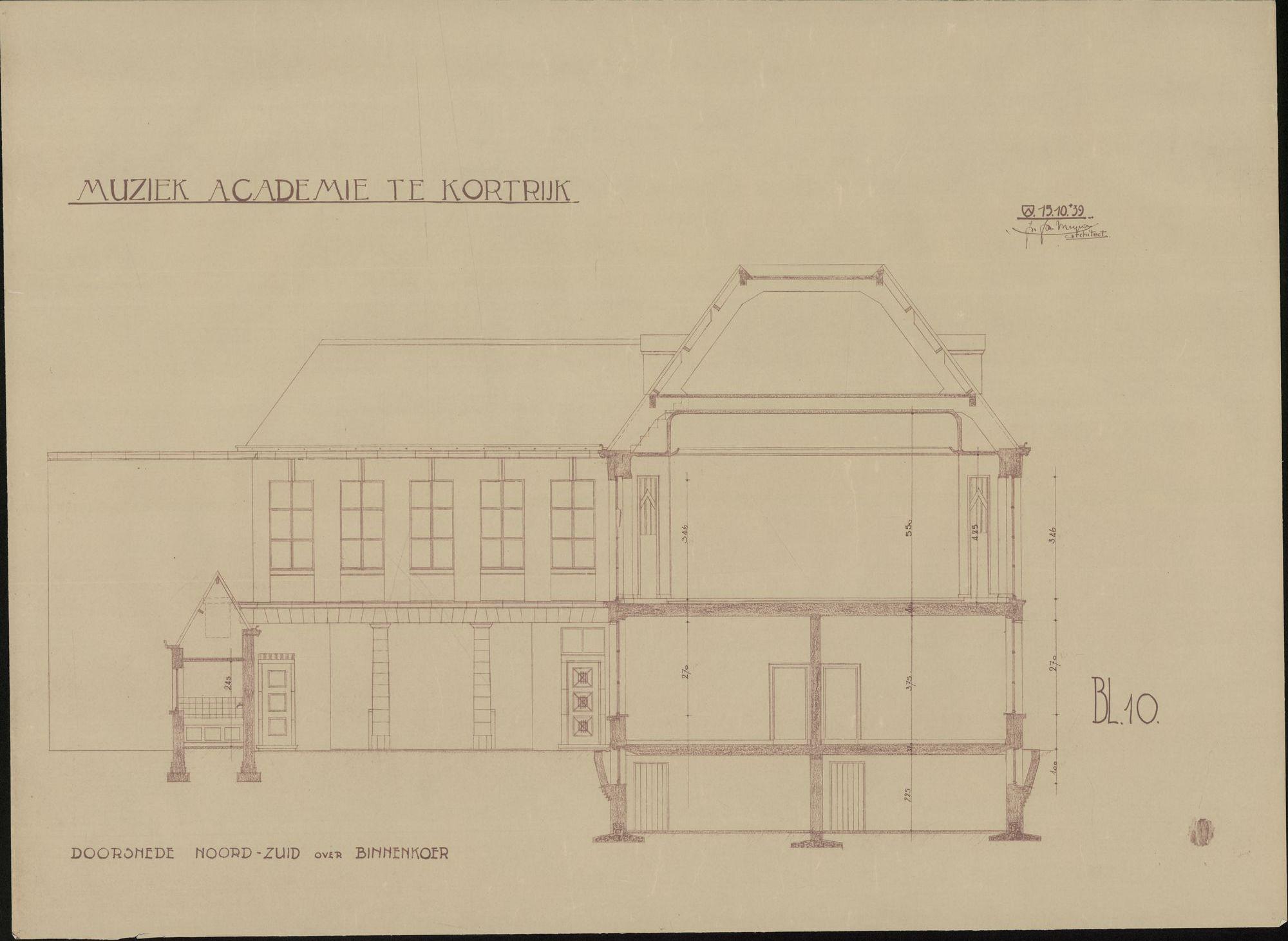 Bouwplannen van een nieuwe muziekacademie te Kortrijk, 1939
