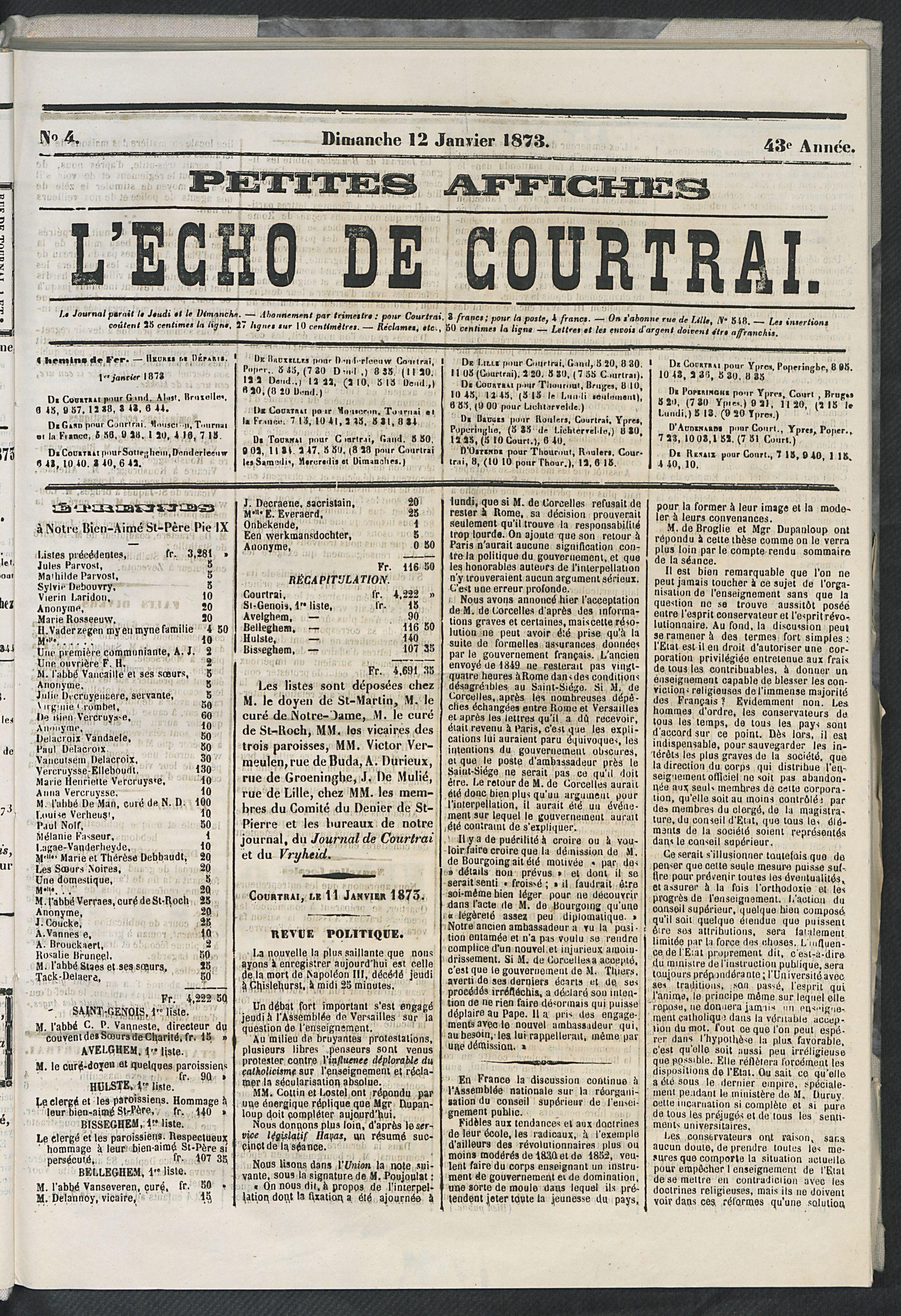 L'echo De Courtrai 1873-01-12 p1