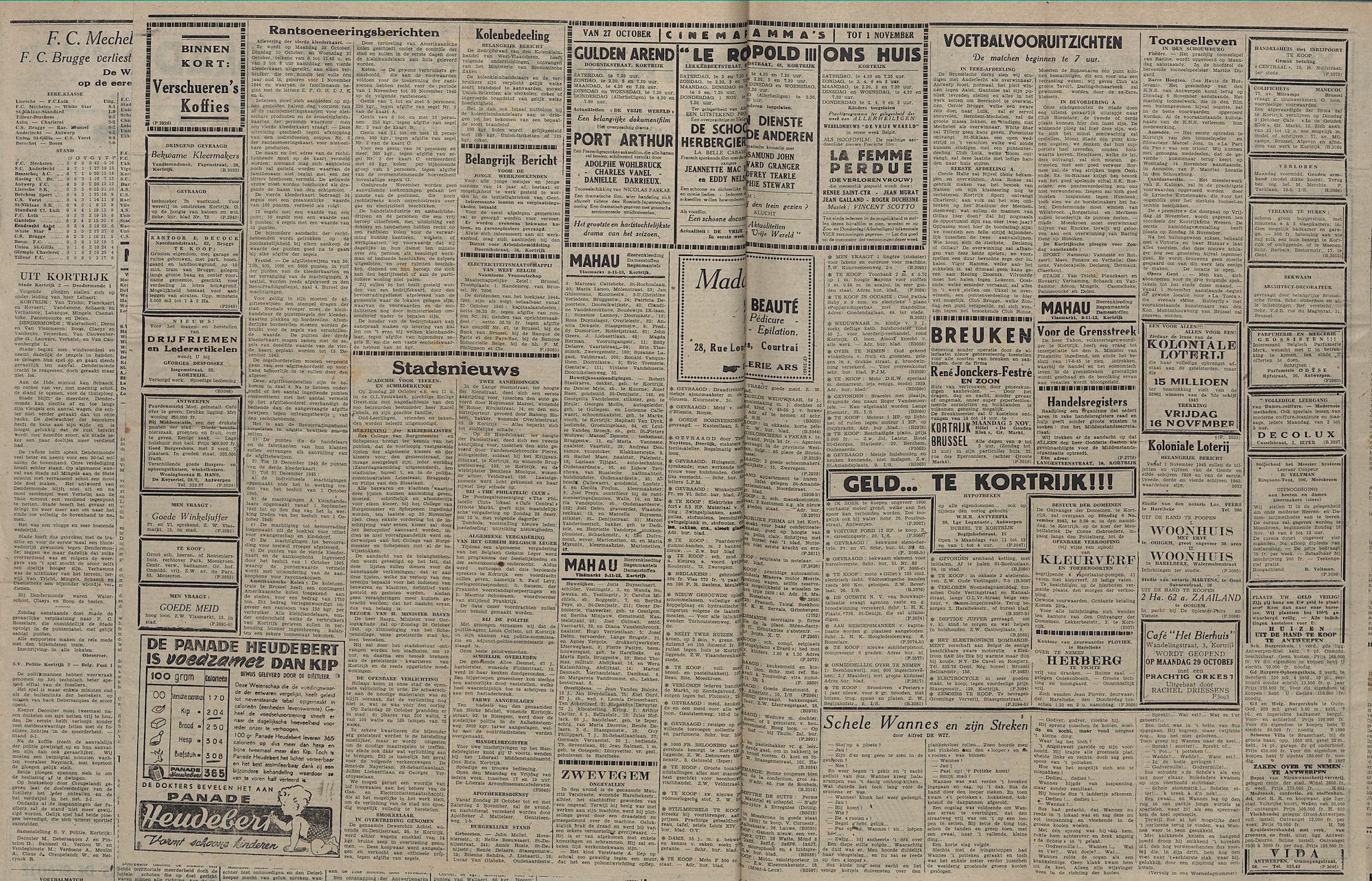 Kortrijksch Handelsblad 26 october 1945 Nr86 p2 en 3