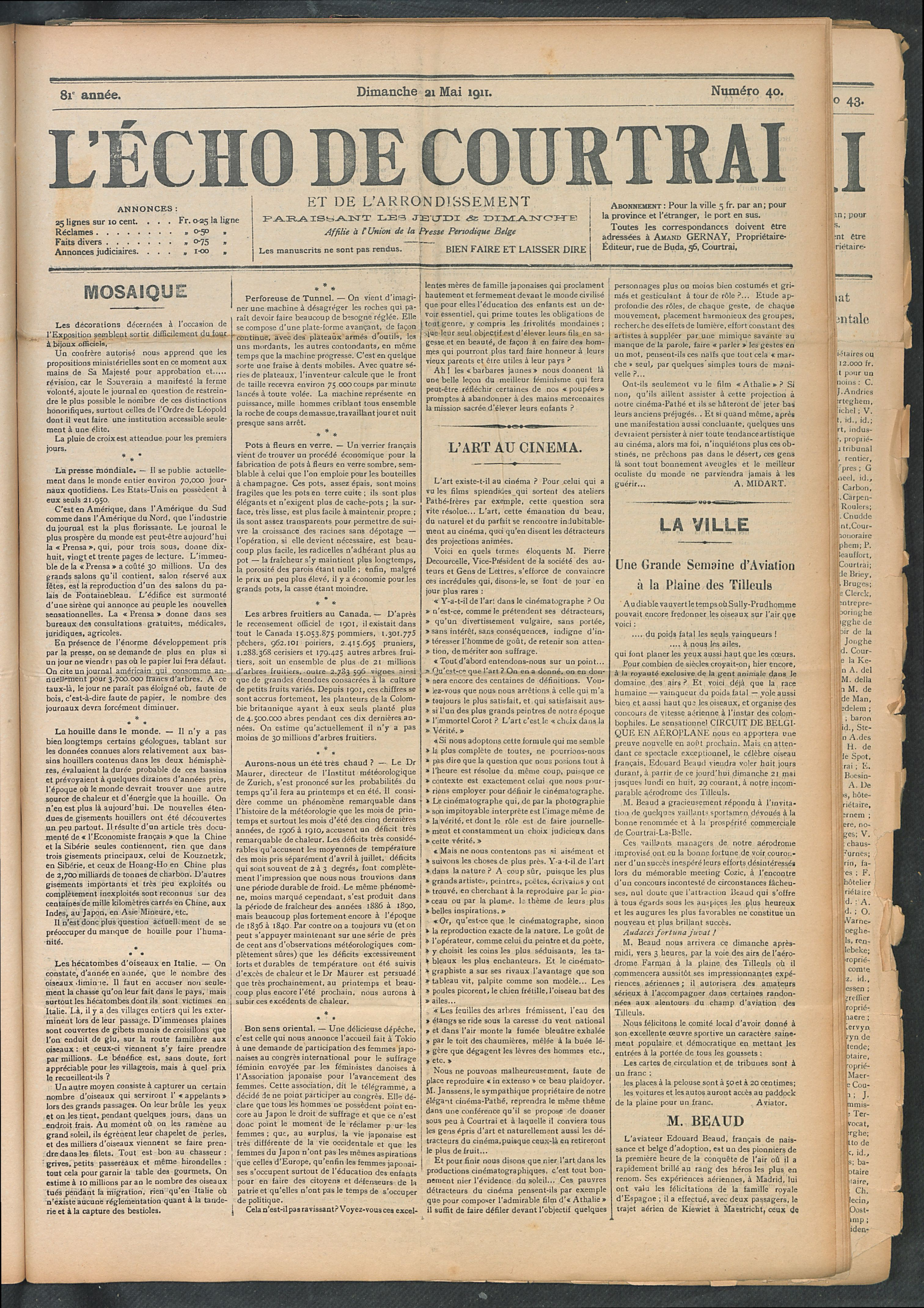 L'echo De Courtrai 1911-05-21 p1