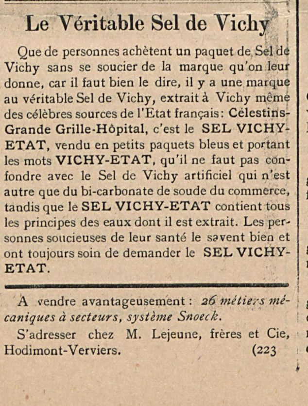 Le veritable Sel de vichy