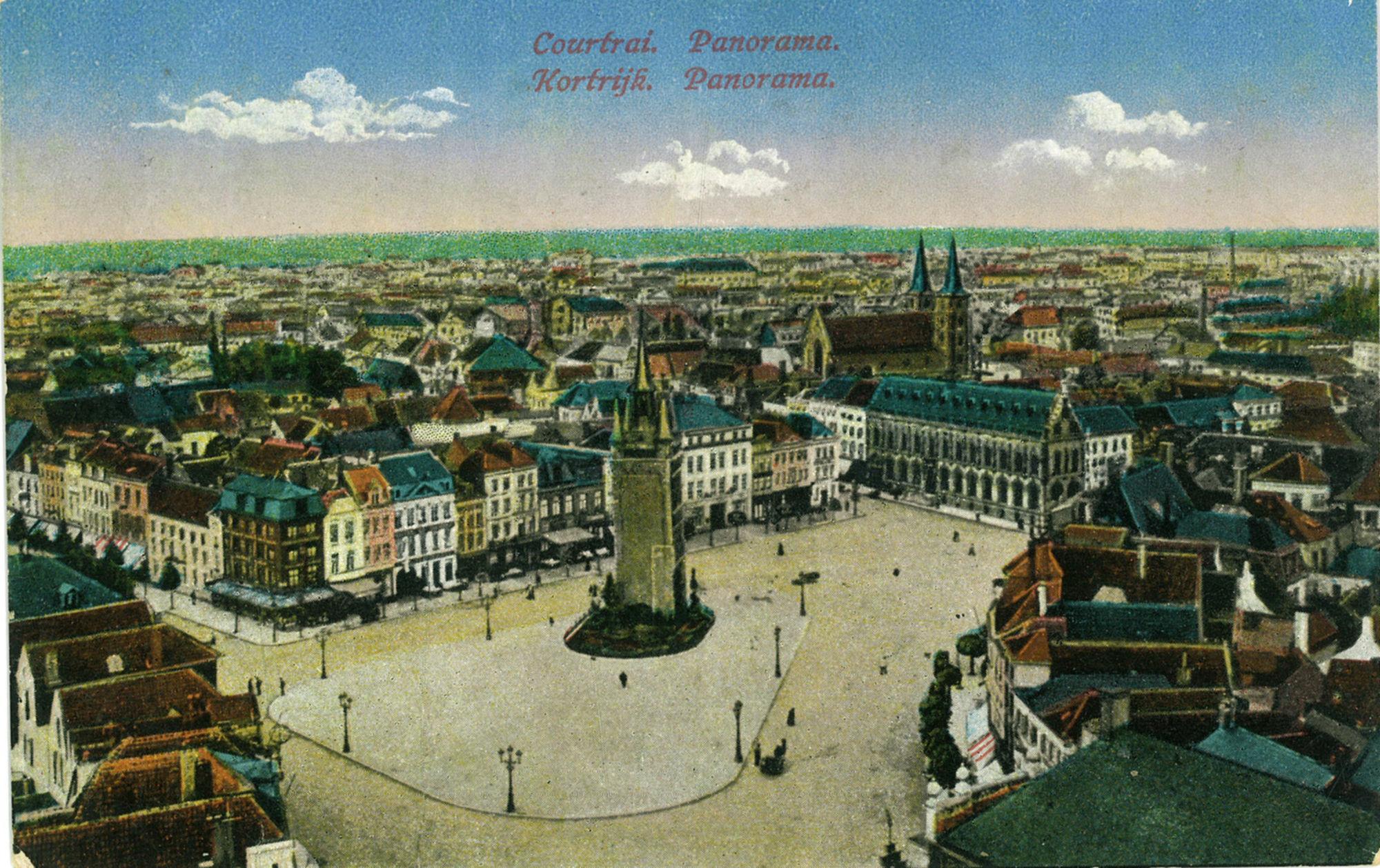 Panoramakaart van het centrum van Kortrijk