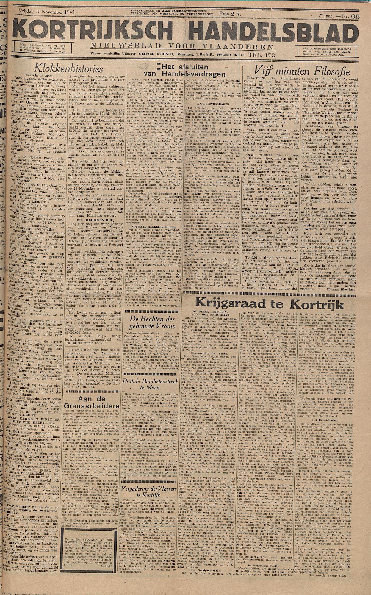 Kortrijksch Handelsblad 30 november 1945 Nr96 p1