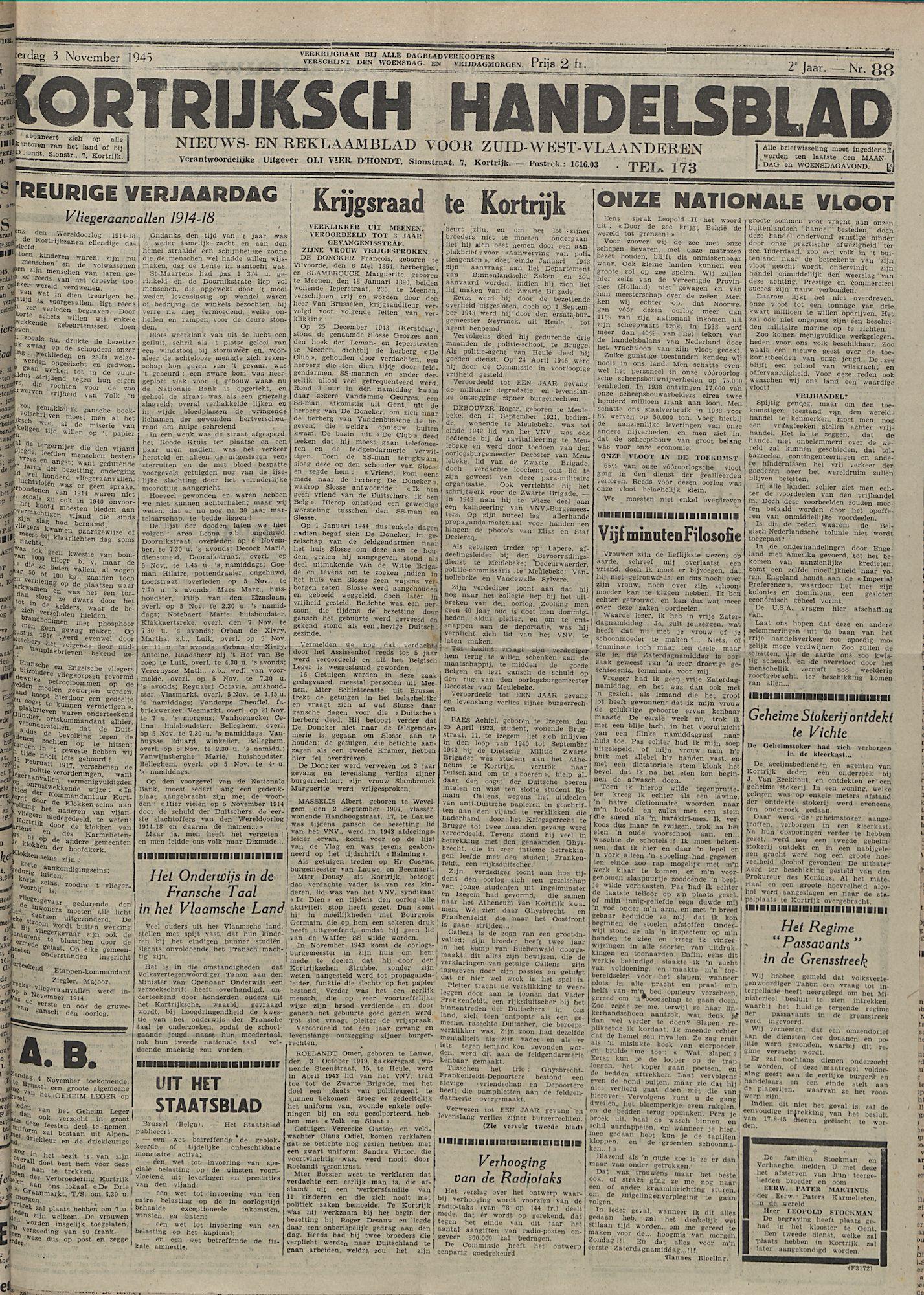 Kortrijksch Handelsblad 3 november 1945 Nr88 p1