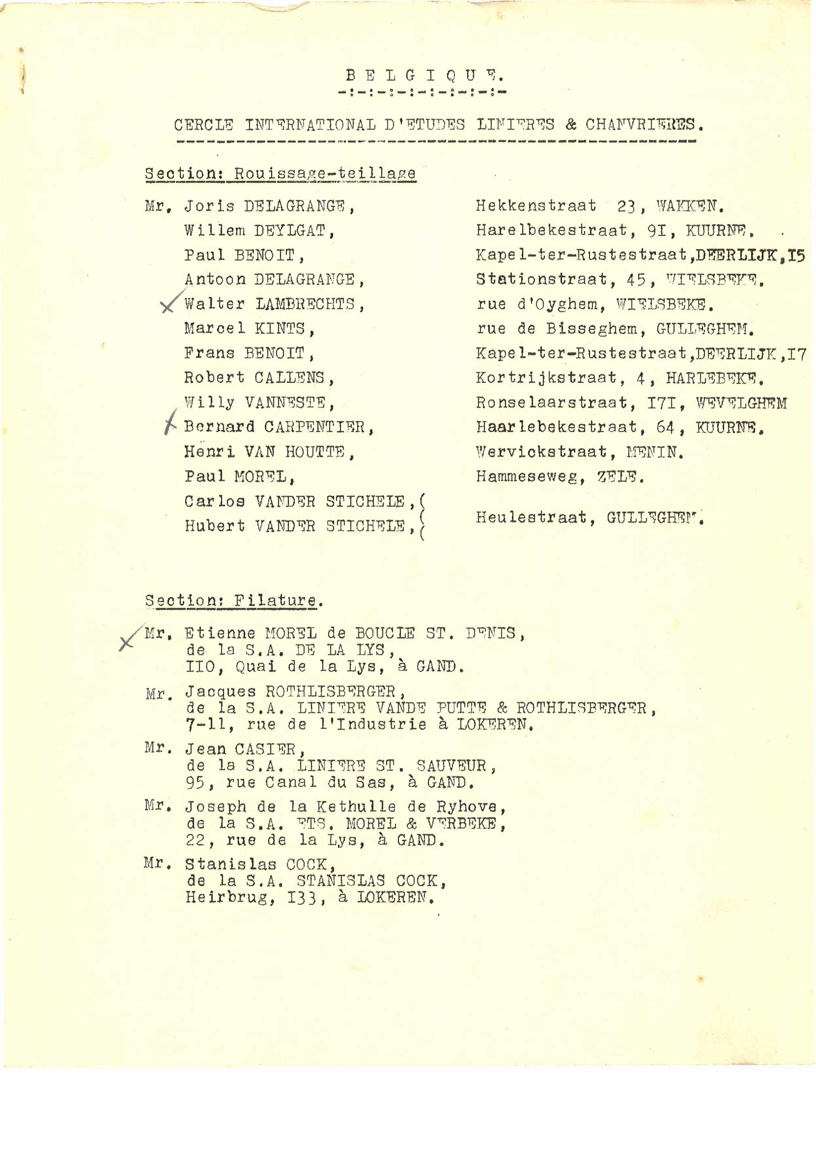 Adressen- en ledenlijst Cercle International d'études linières et chanvrières (CILC), 1950