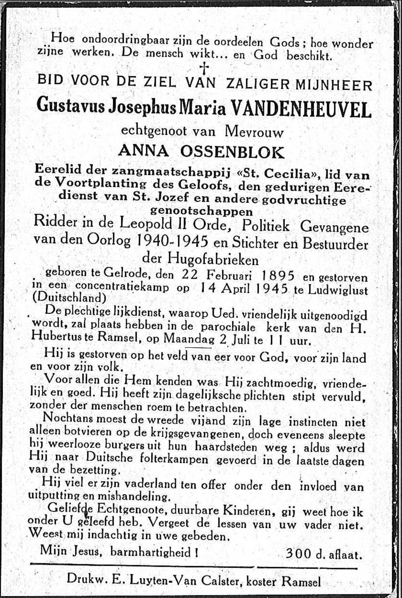 Gustavus Josephus Maria Vandenheuvel