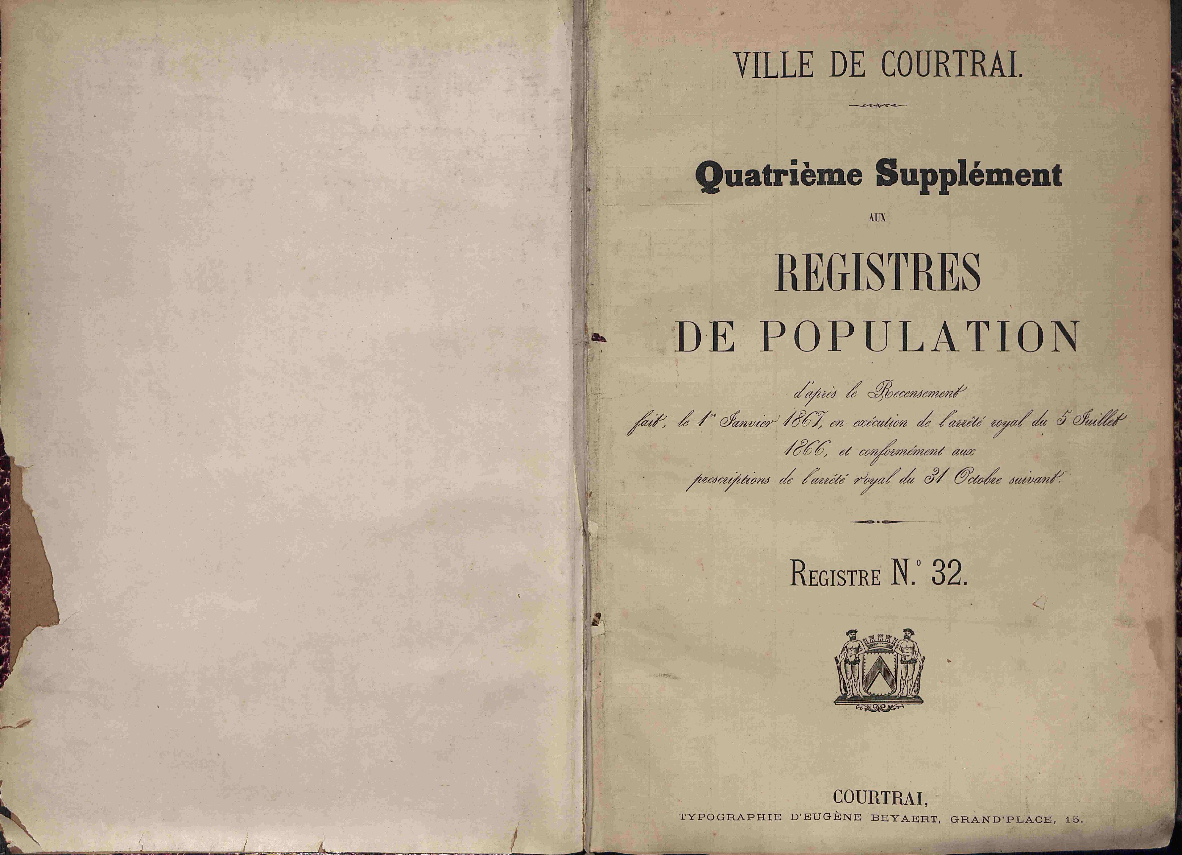 Bevolkingsregister Kortrijk 1866 boek 32
