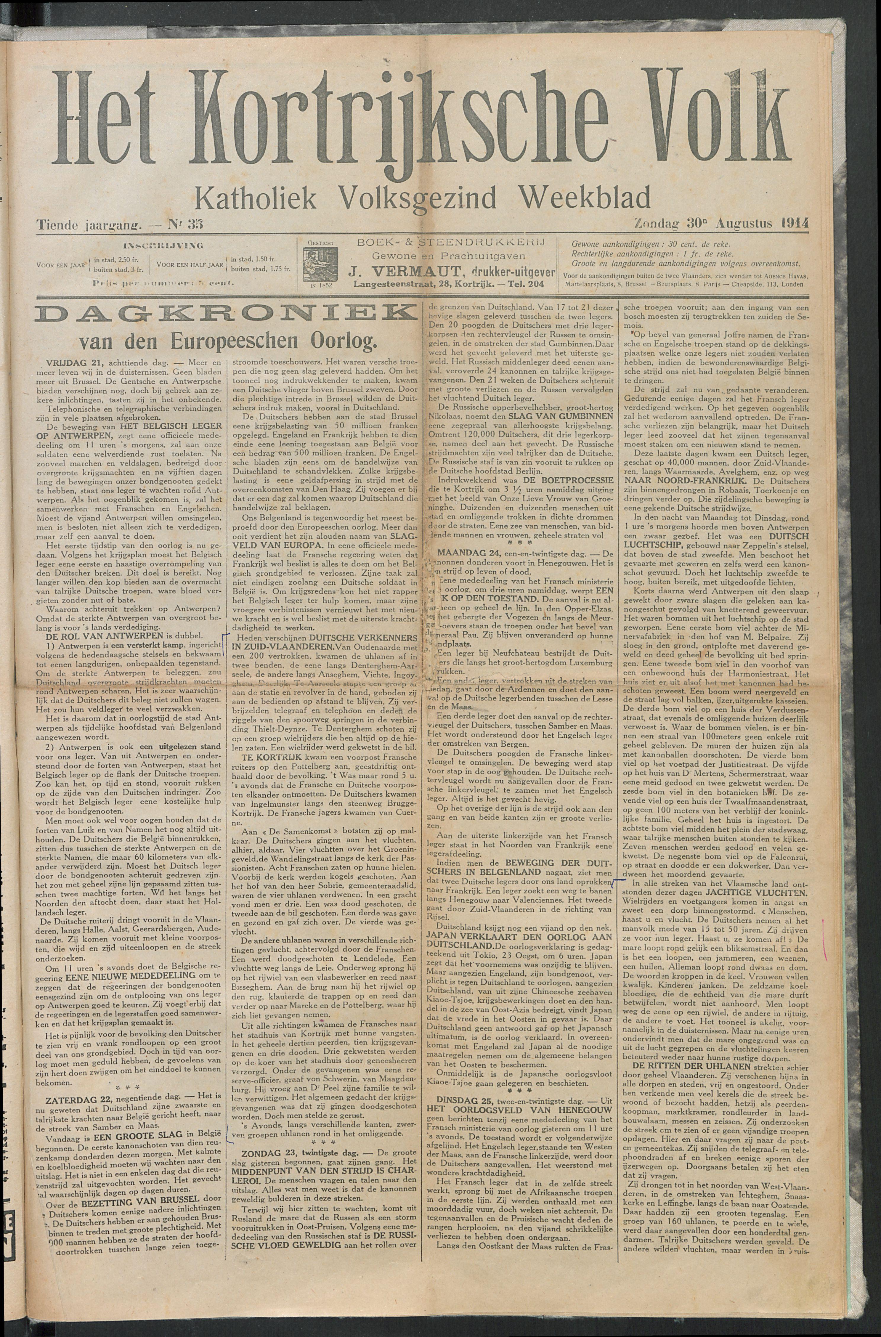 Het Kortrijksche Volk 1914-08-30 p1