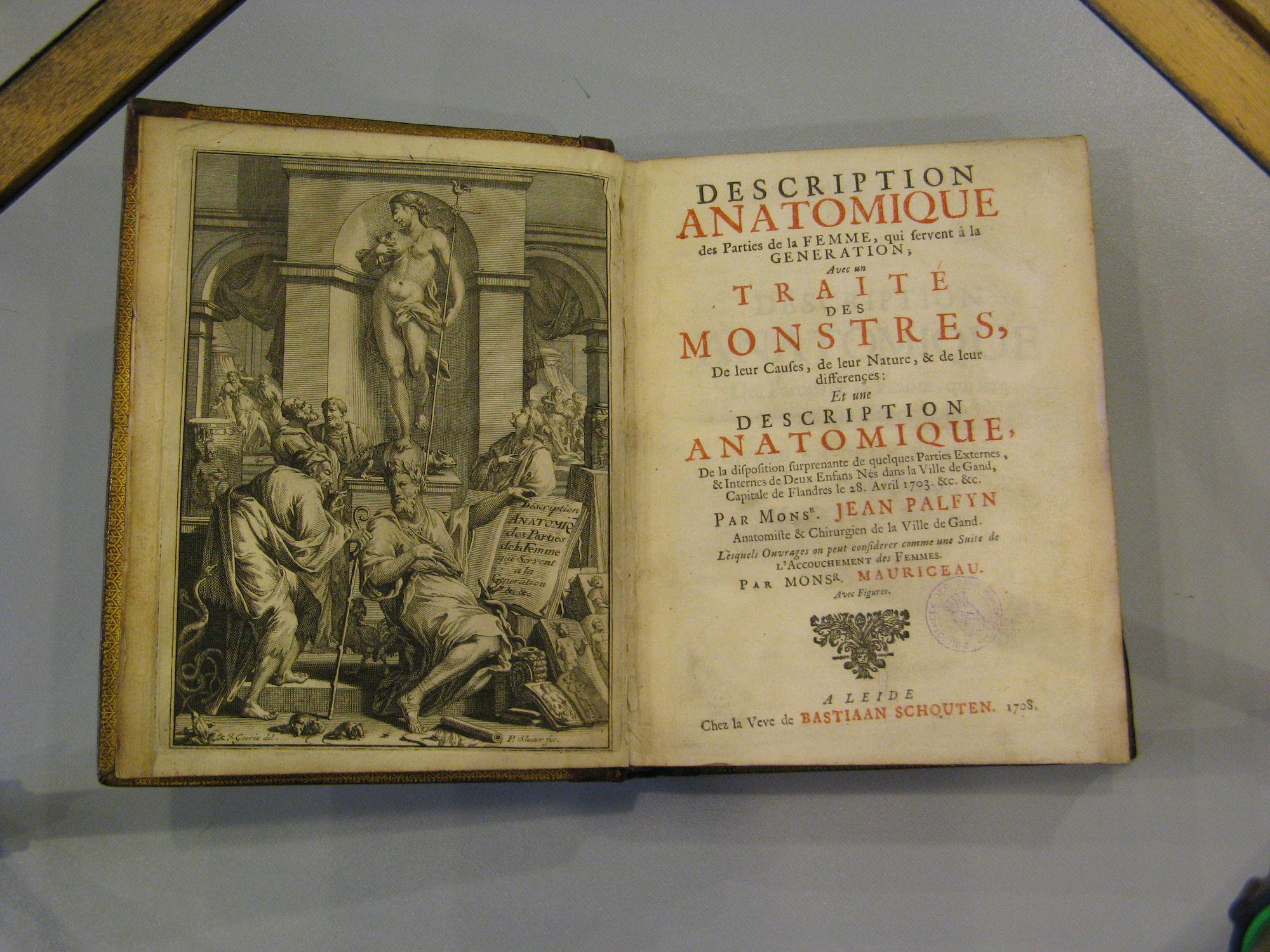 Boek over anatomie van Jan Palfyn 1708