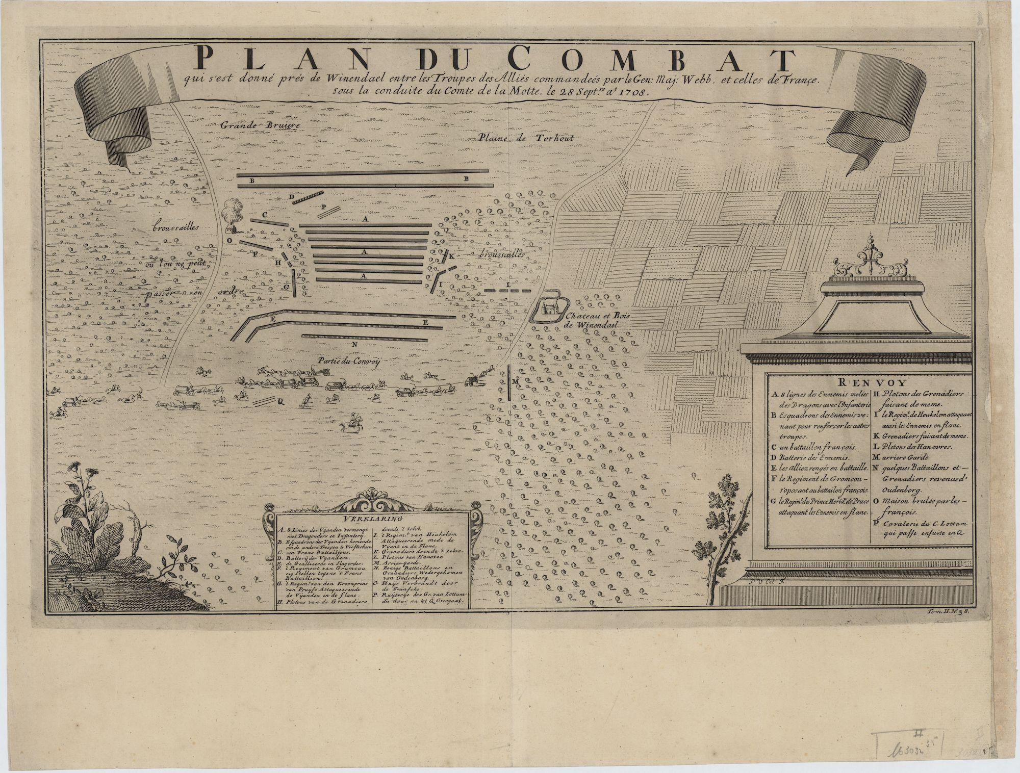 Westflandrica - Wijnendale, plan van de Veldslag 1708