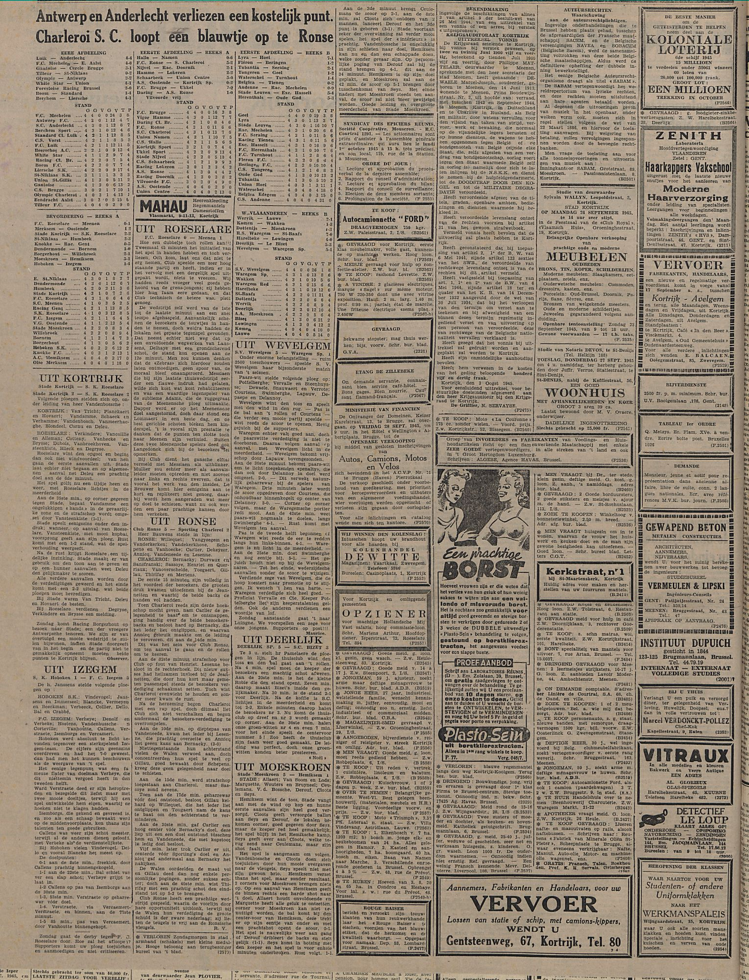 Kortrijksch Handelsblad 19 september 1945 Nr75 p2