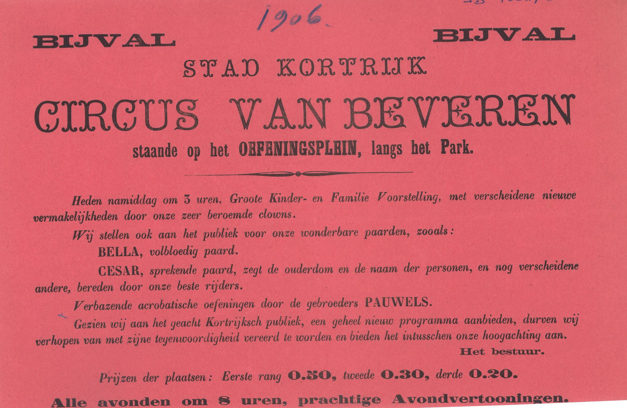 Paasfoor 1906: Circus Van Beveren