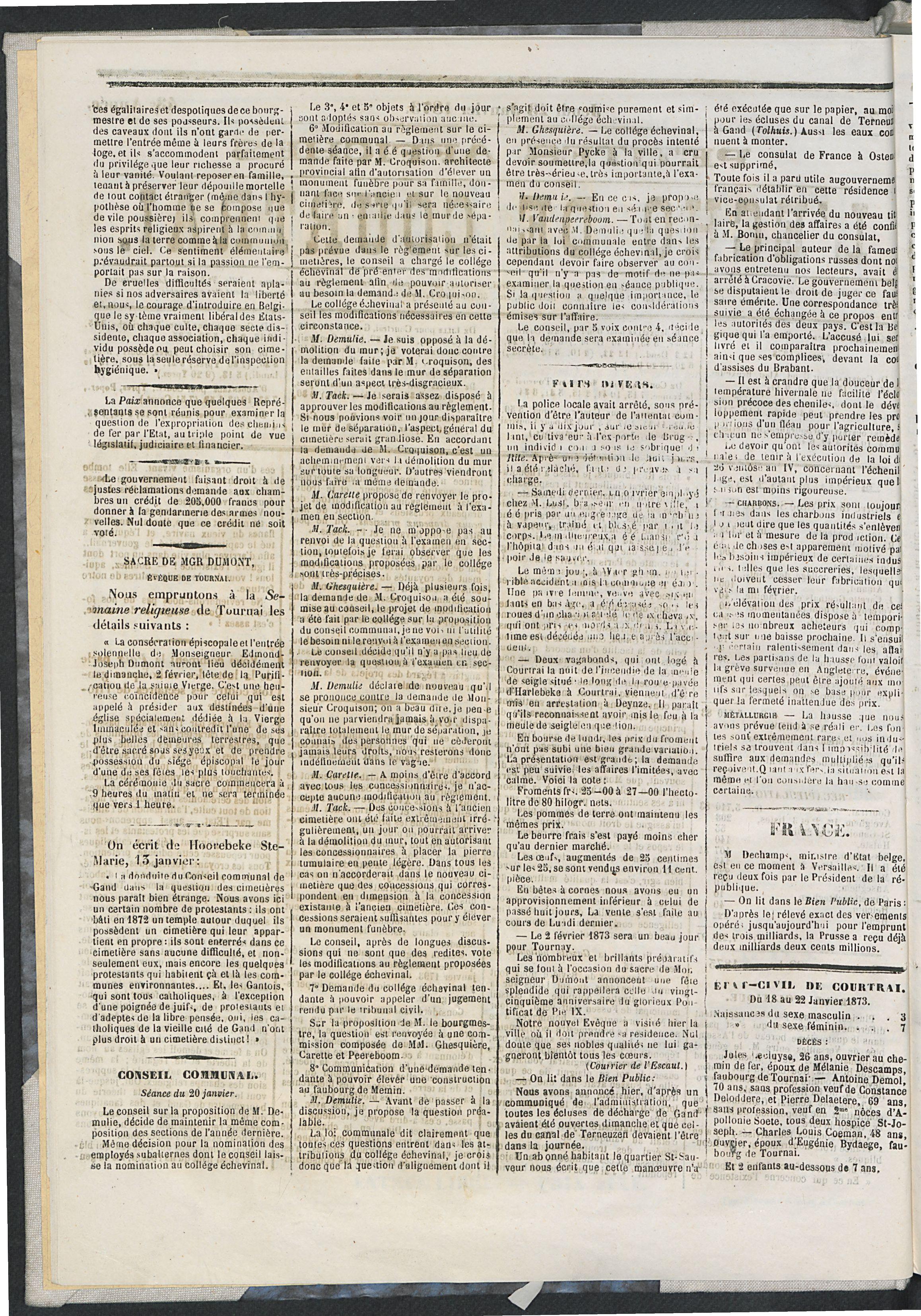 L'echo De Courtrai 1873-01-23 p2