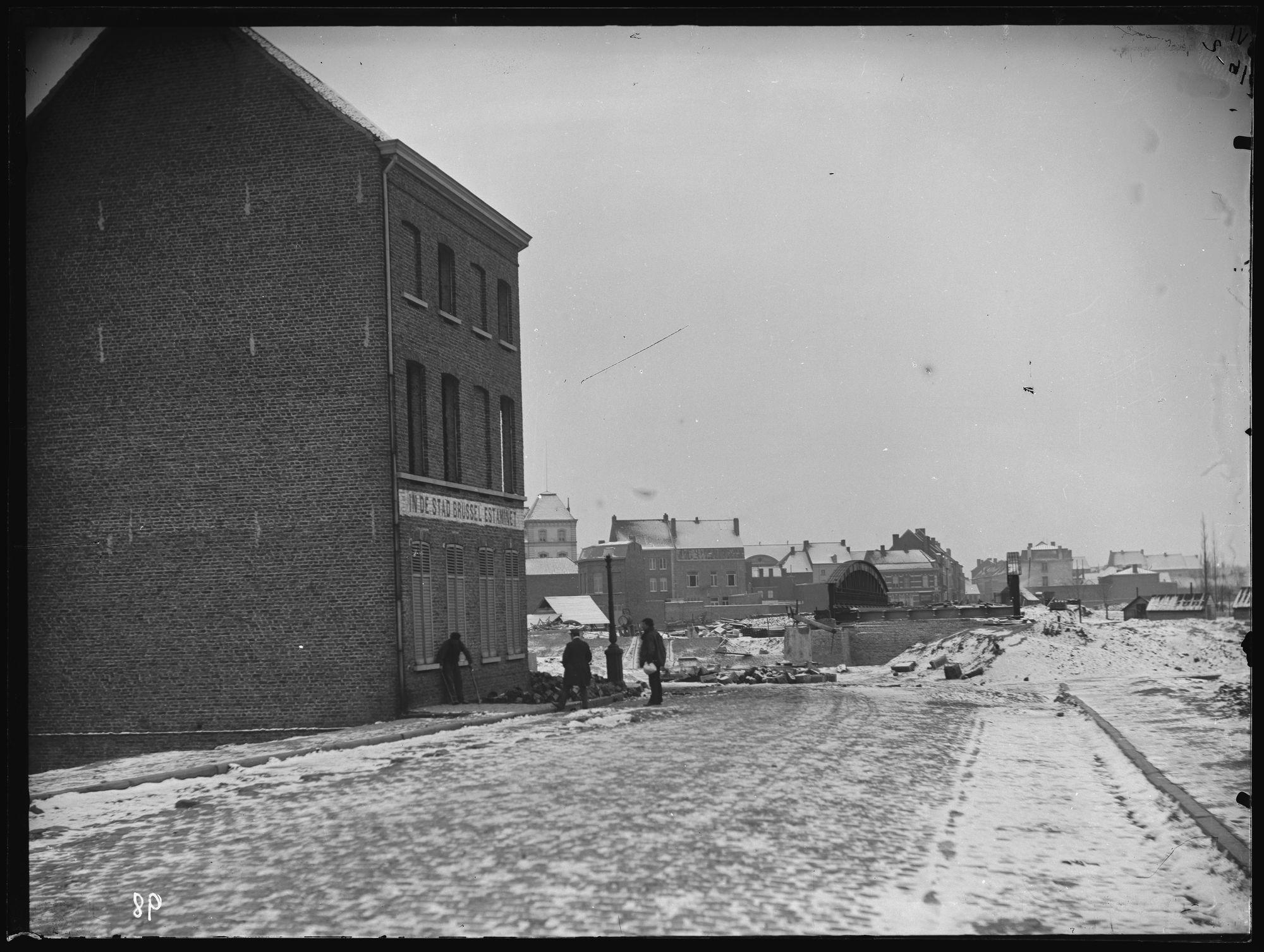 Aanleg van de Noordbrug circa 1892