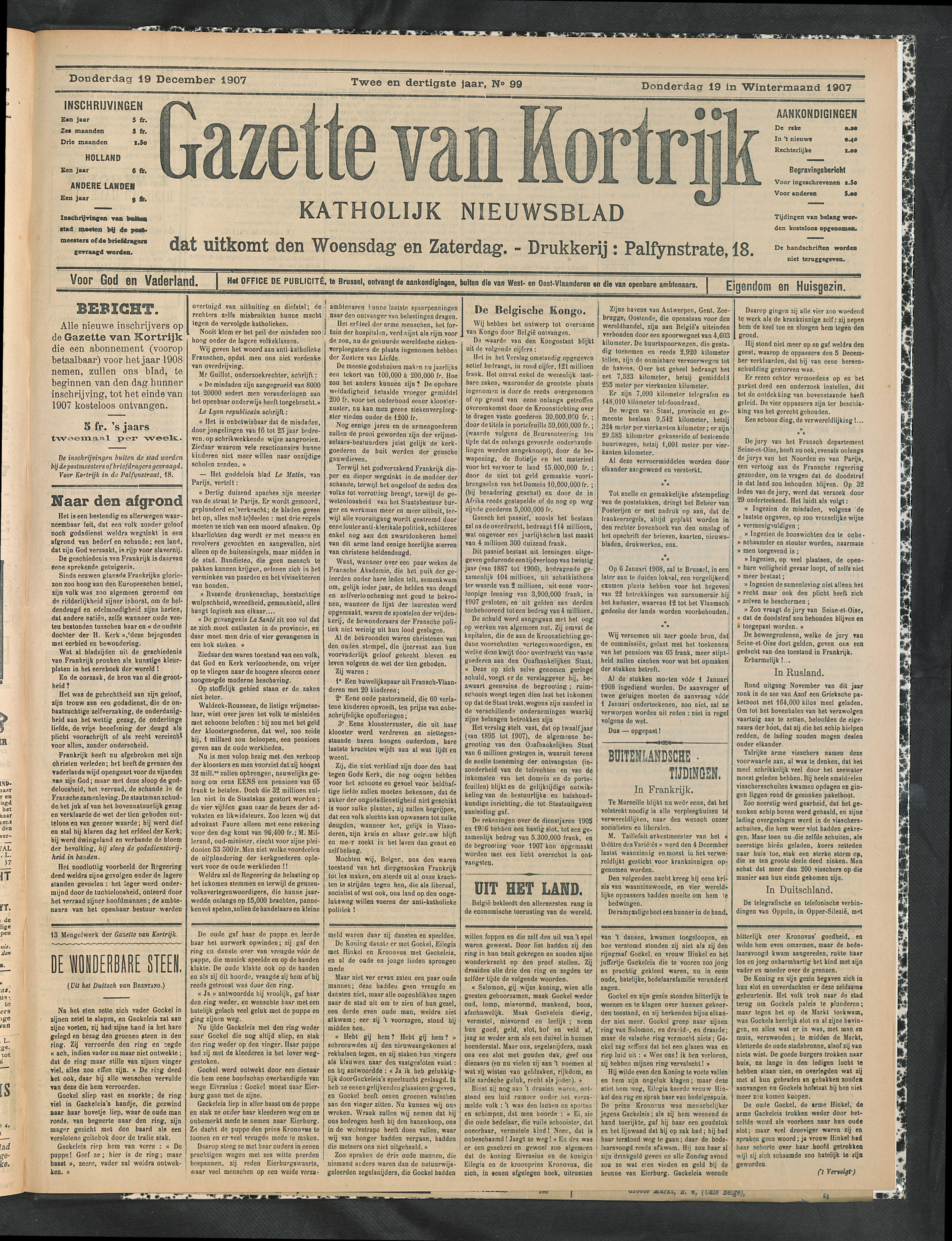 Gazette Van Kortrijk 1907-12-19 p1