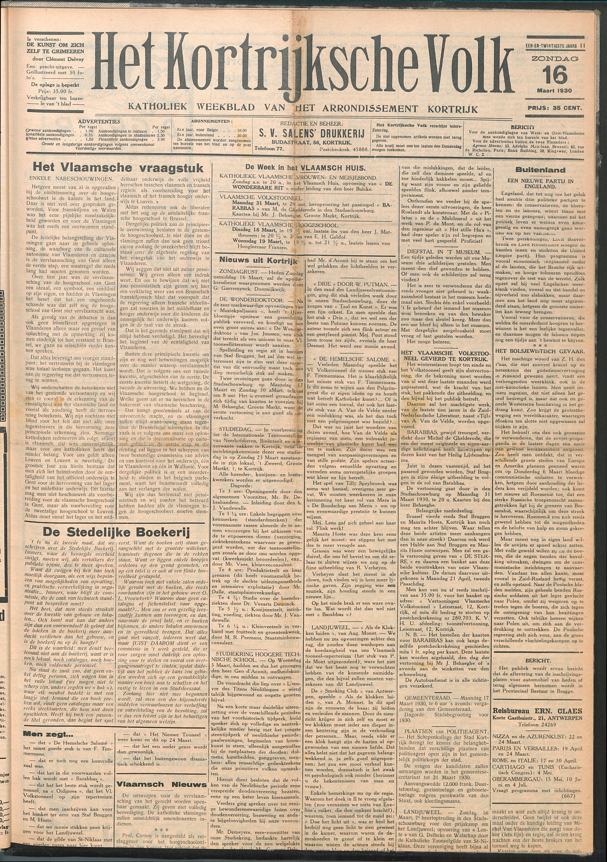 Het Kortrijksche Volk 1930-03-16 p1