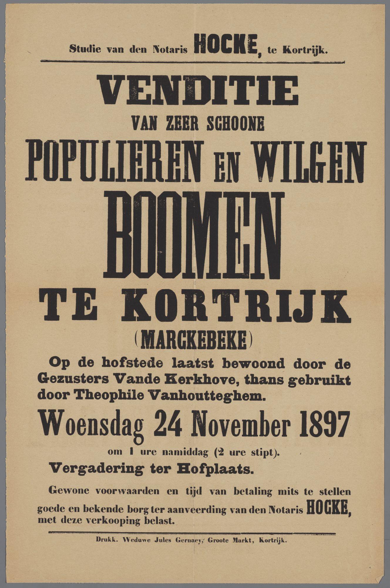 Verkoop van bomen: populieren en wilgen in 1897
