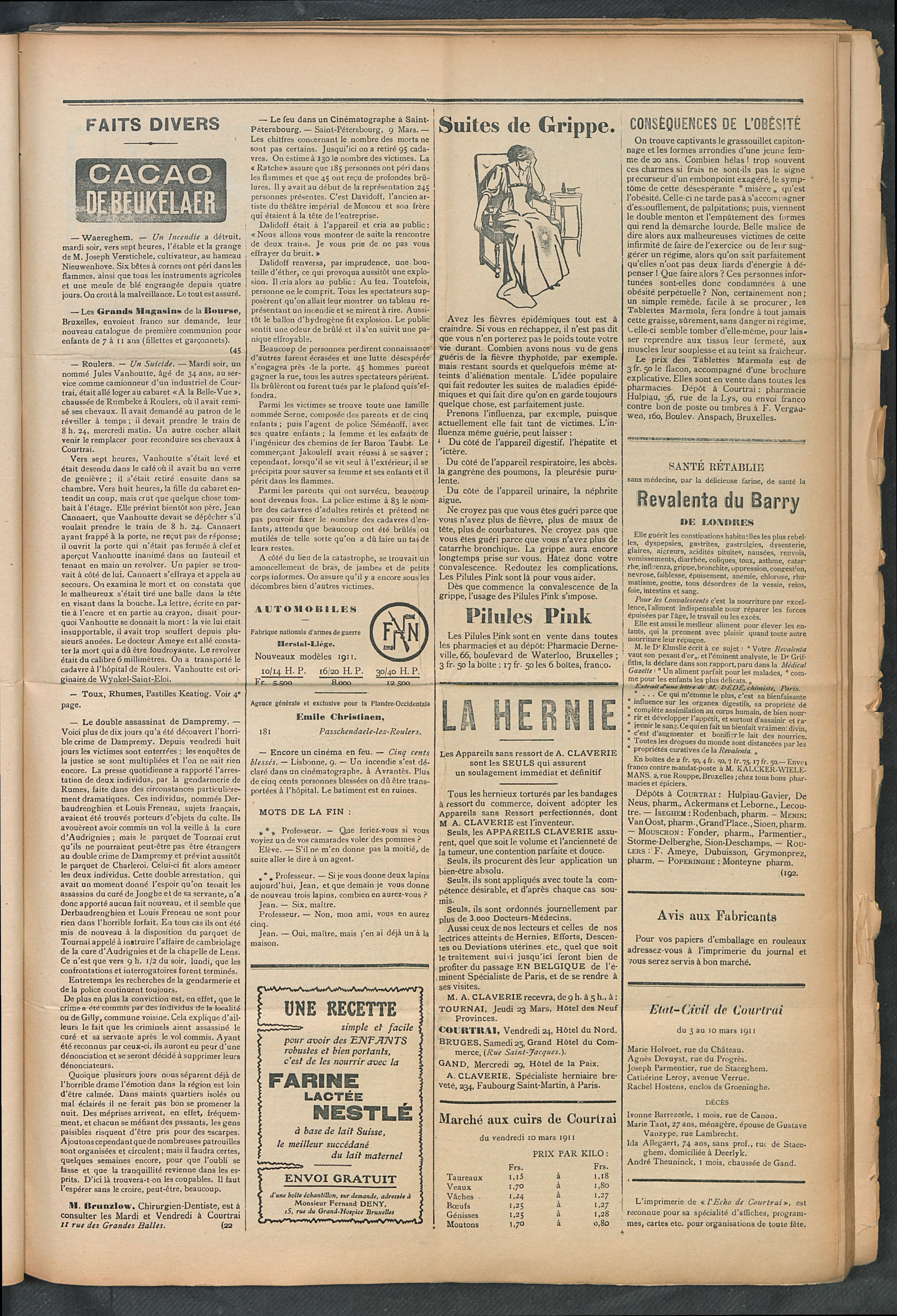 L'echo De Courtrai 1911-03-12 p3