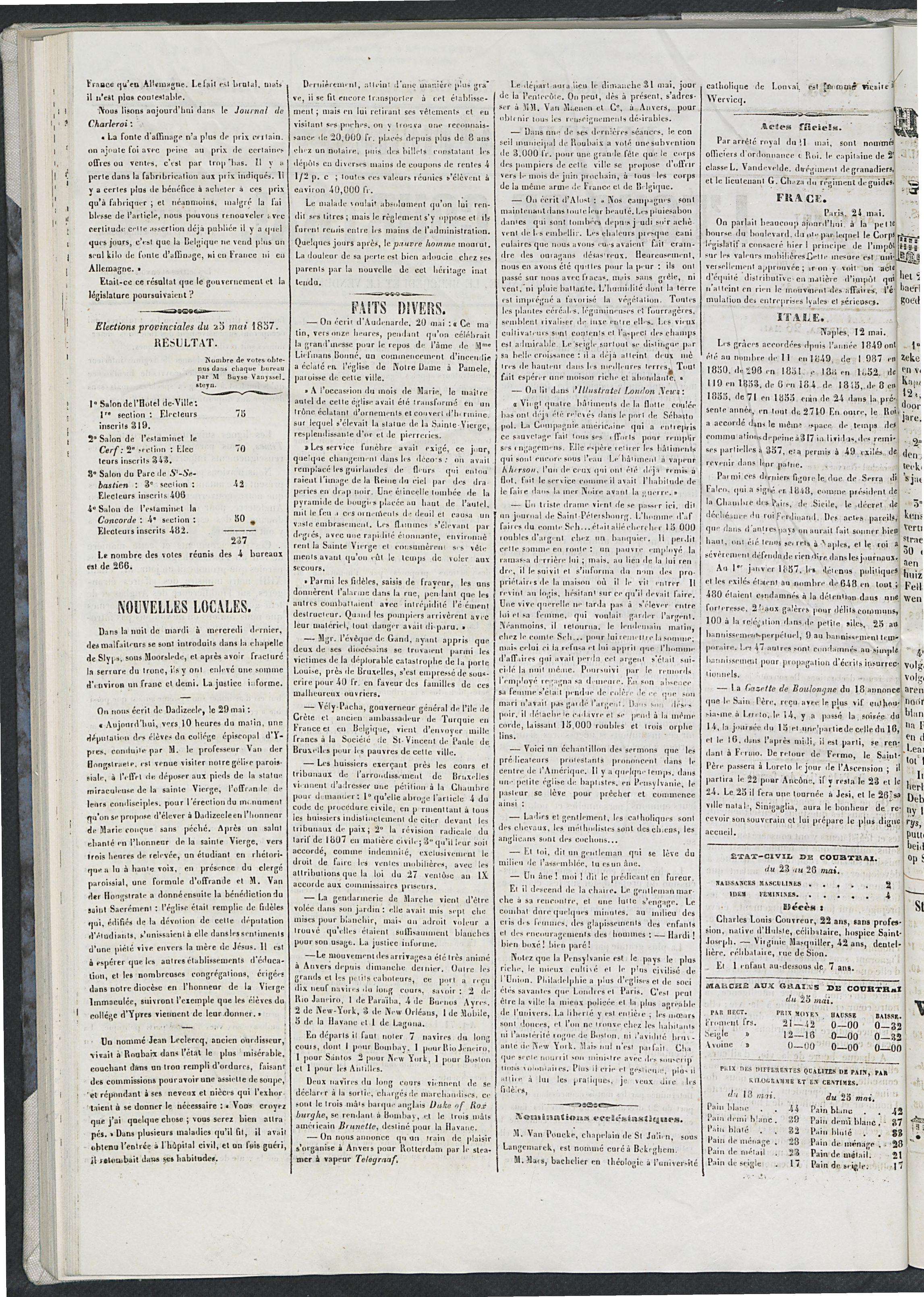 L'echo De Courtrai 1857-05-27 p2