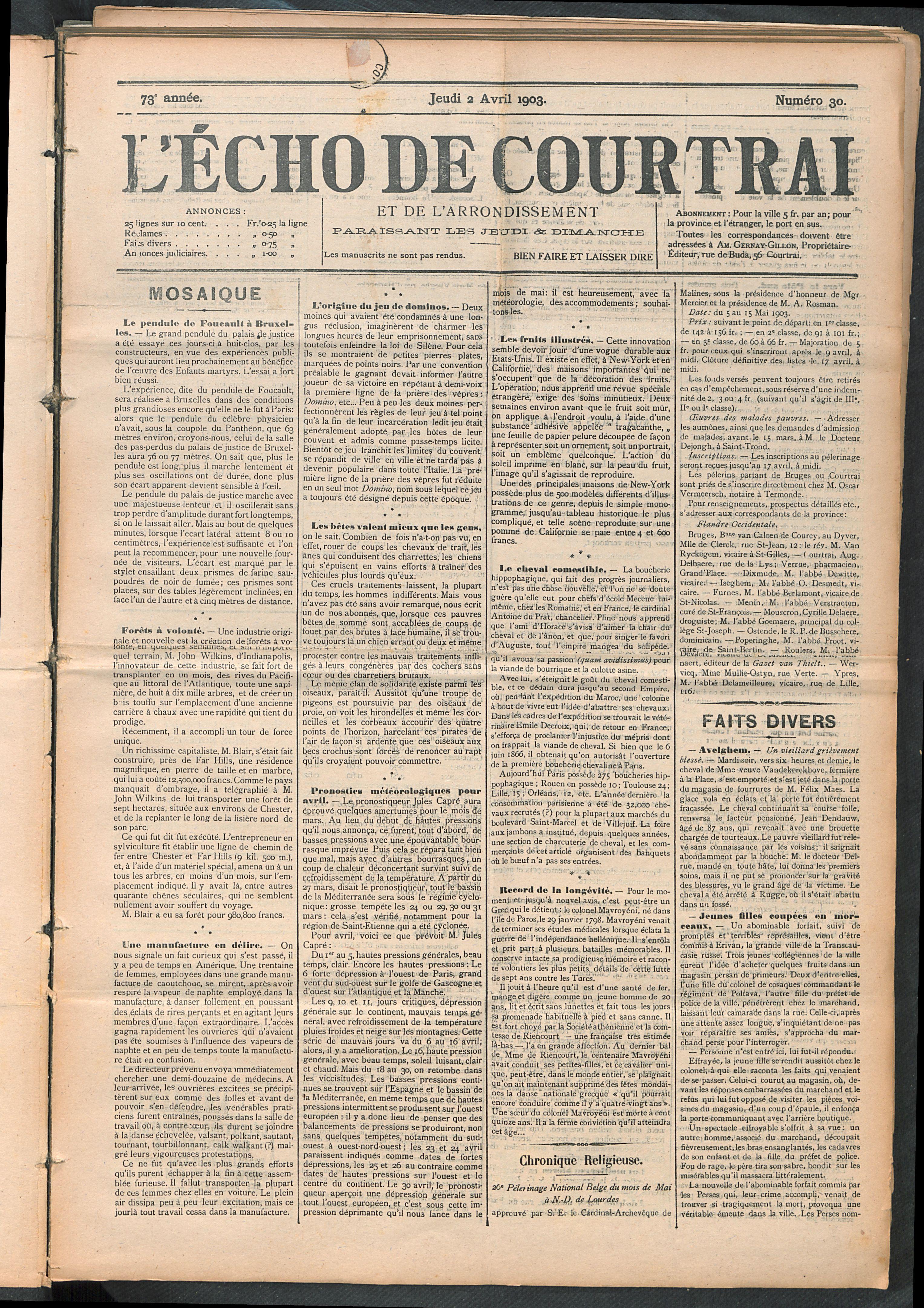 L'echo De Courtrai 1903-04-02 p1