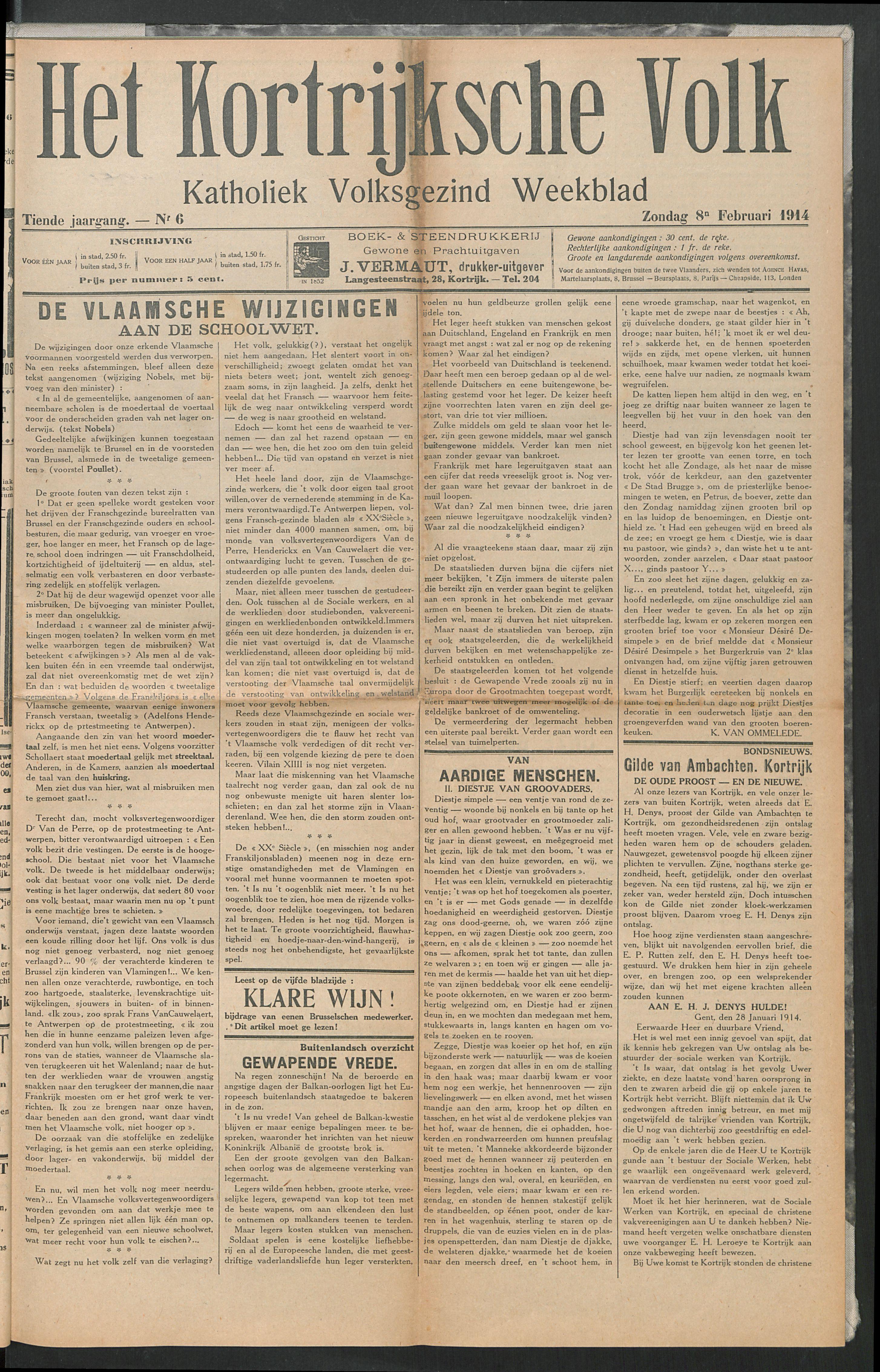 Het Kortrijksche Volk 1914-02-08 p1