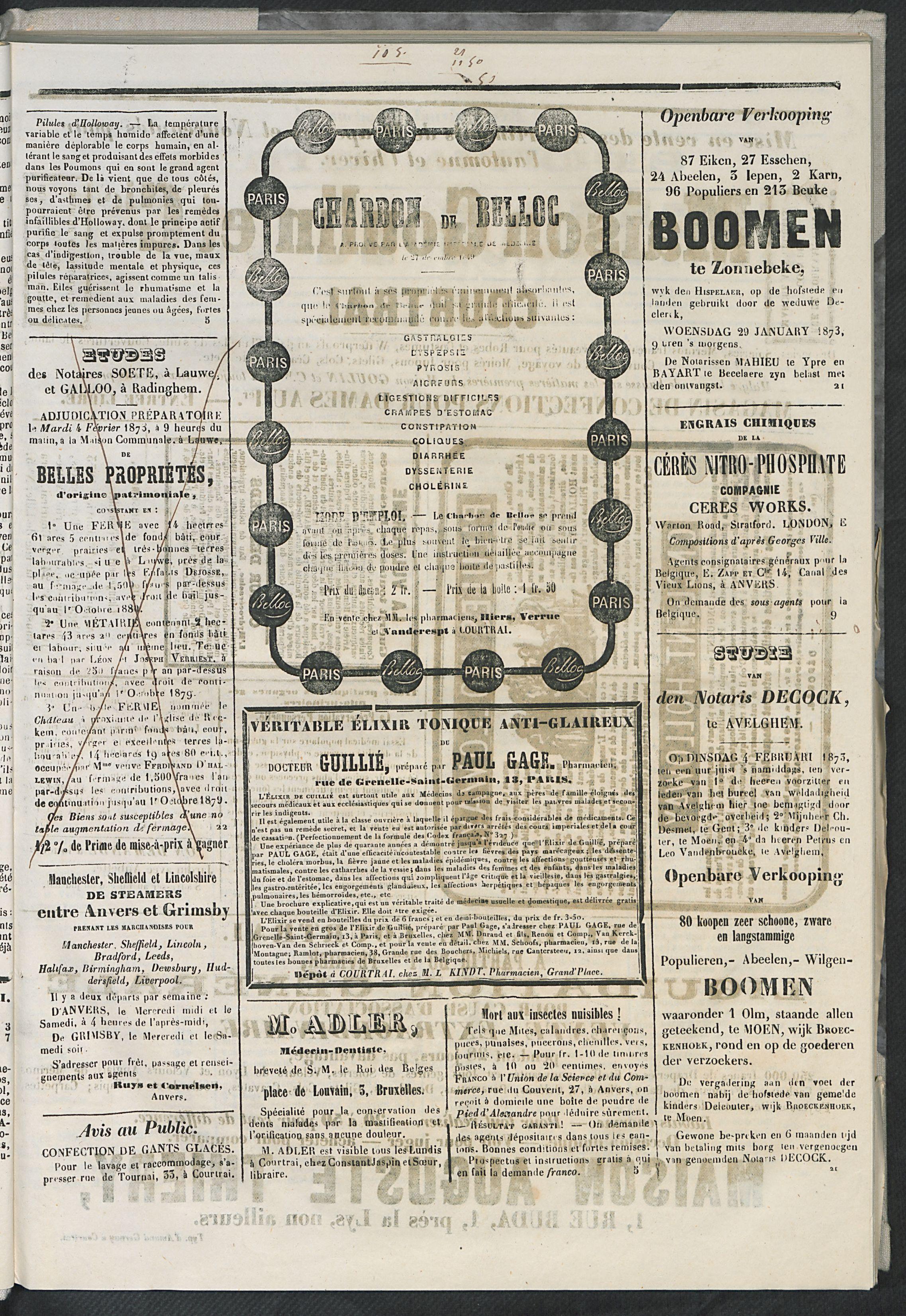 L'echo De Courtrai 1873-01-23 p3