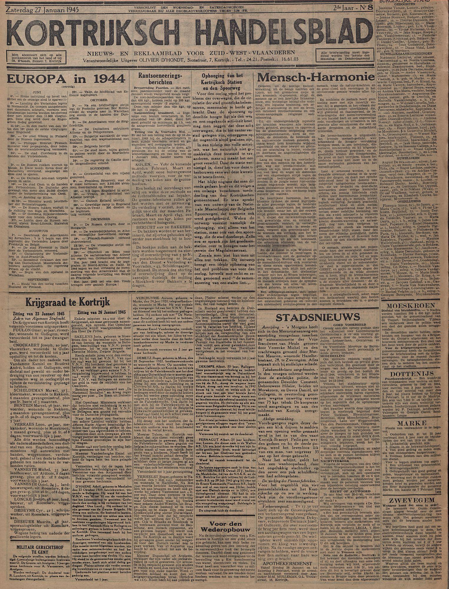 Kortrijksch Handelsblad 27 januari 1945 Nr8 p1