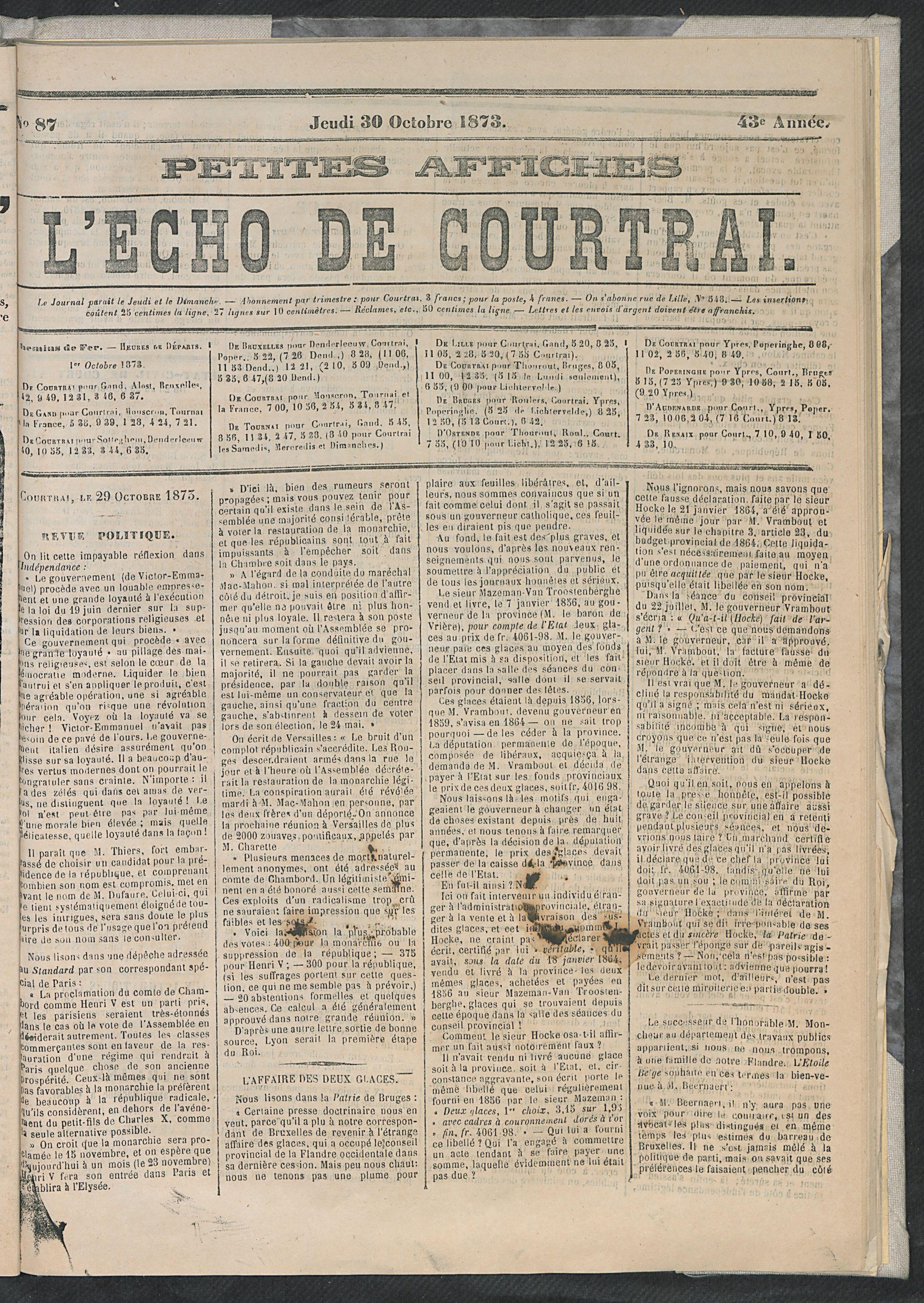 L'echo De Courtrai 1873-10-30 p1