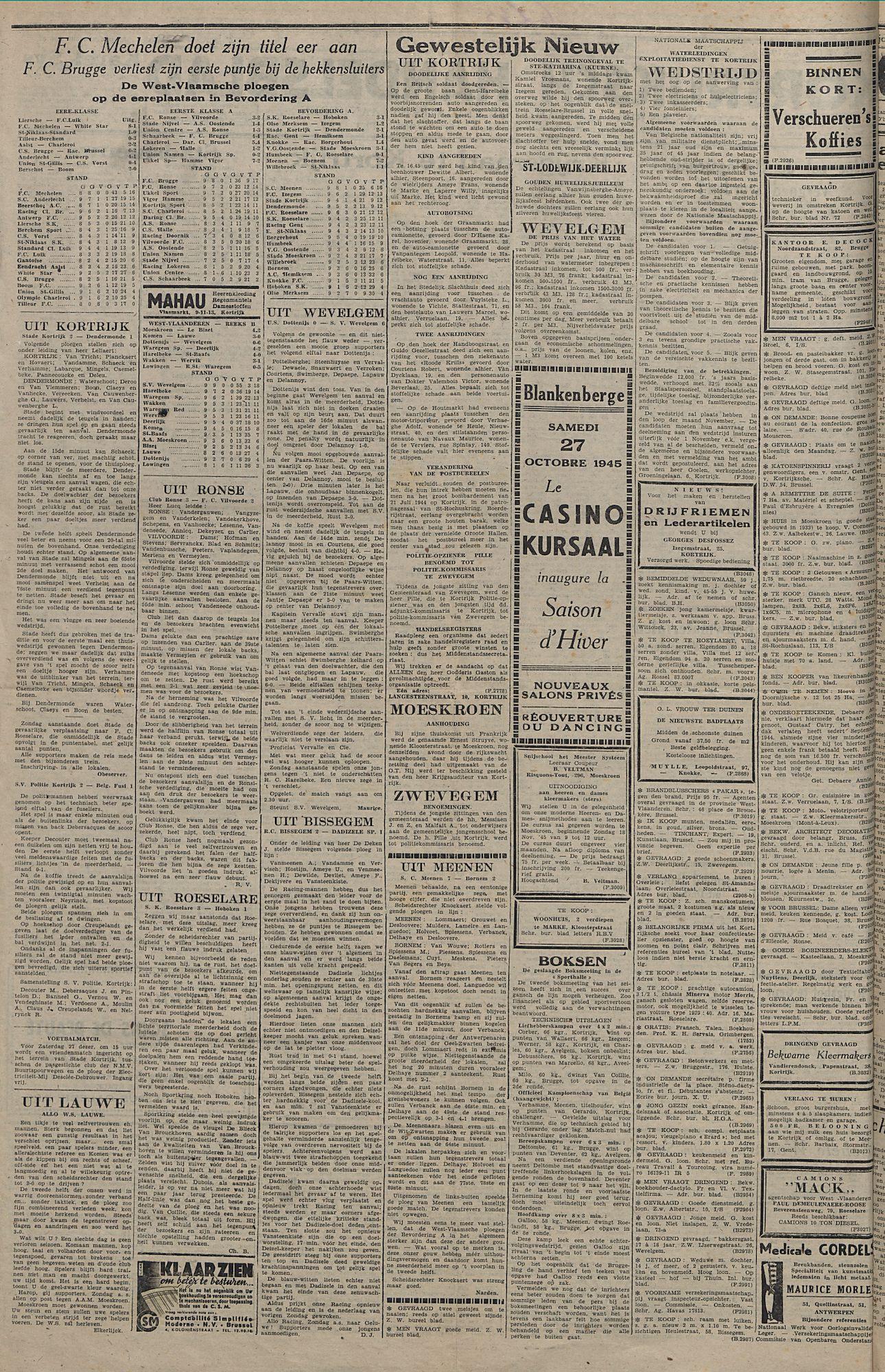 Kortrijksch Handelsblad 27 october 1945 Nr85 p2