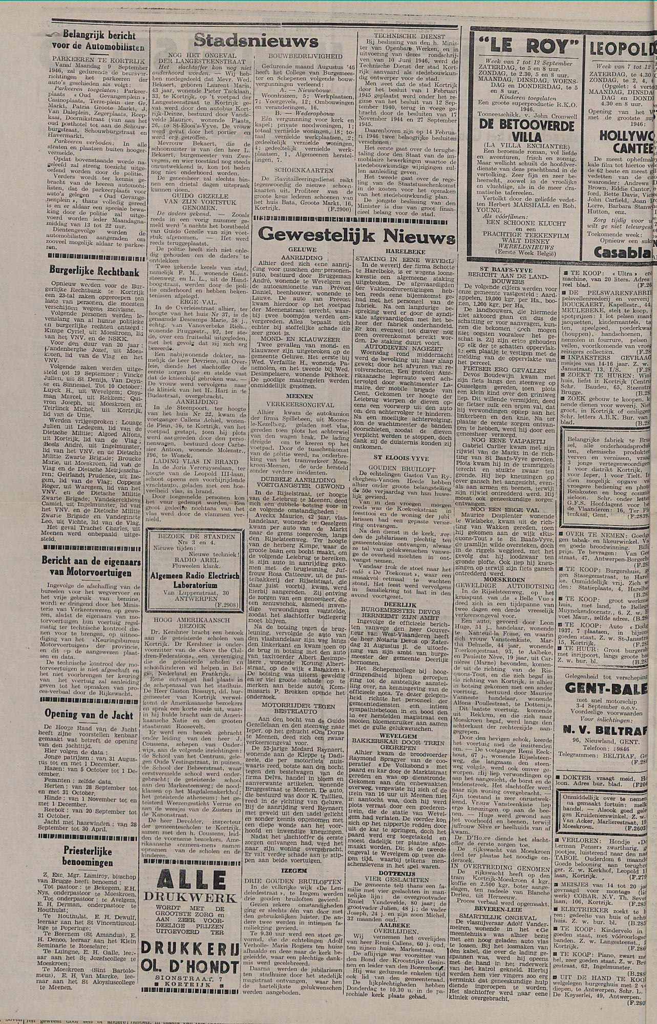 Kortrijksch Handelsblad 10 september 1946 Nr73 p2