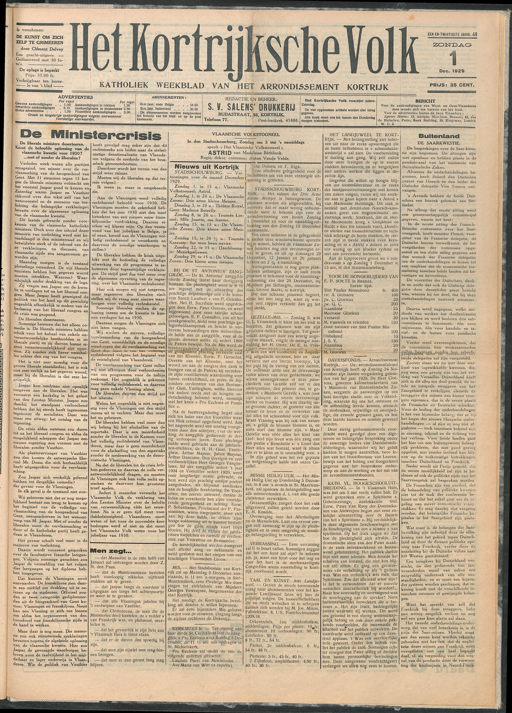 Het Kortrijksche Volk 1929-12-01 p1