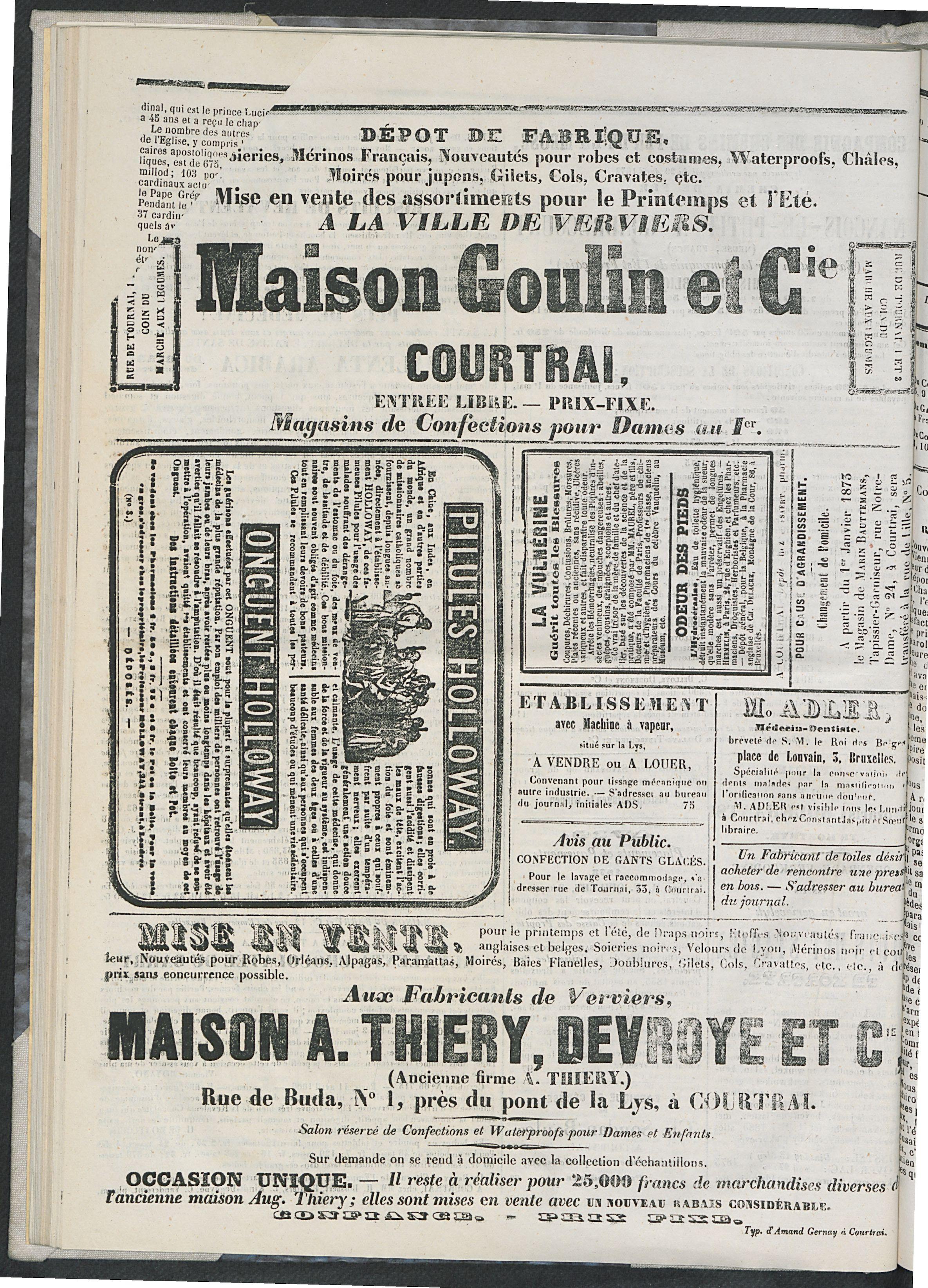 L'echo De Courtrai 1873-05-01 p4