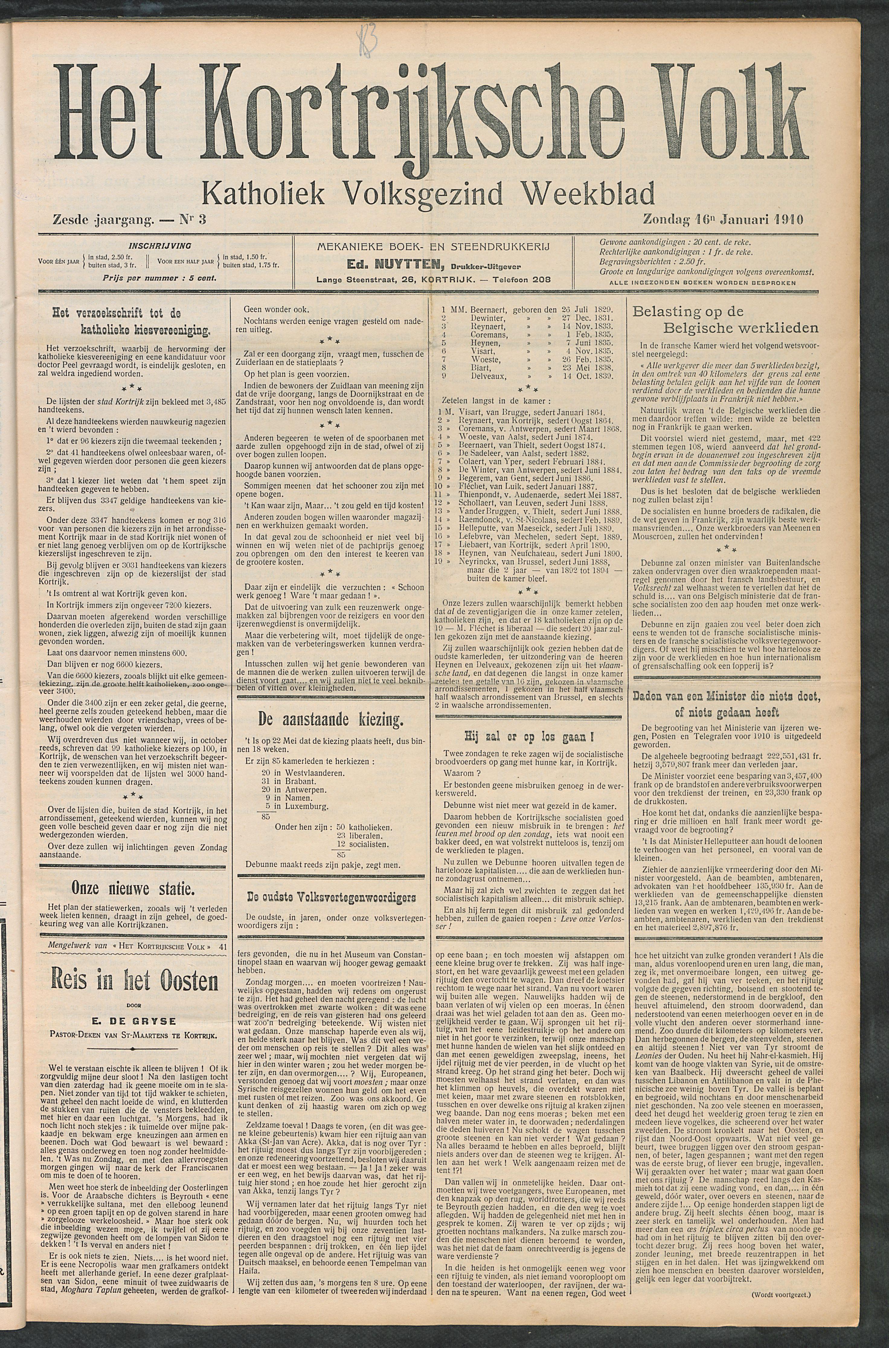Het Kortrijksche Volk 1910-01-16 p1