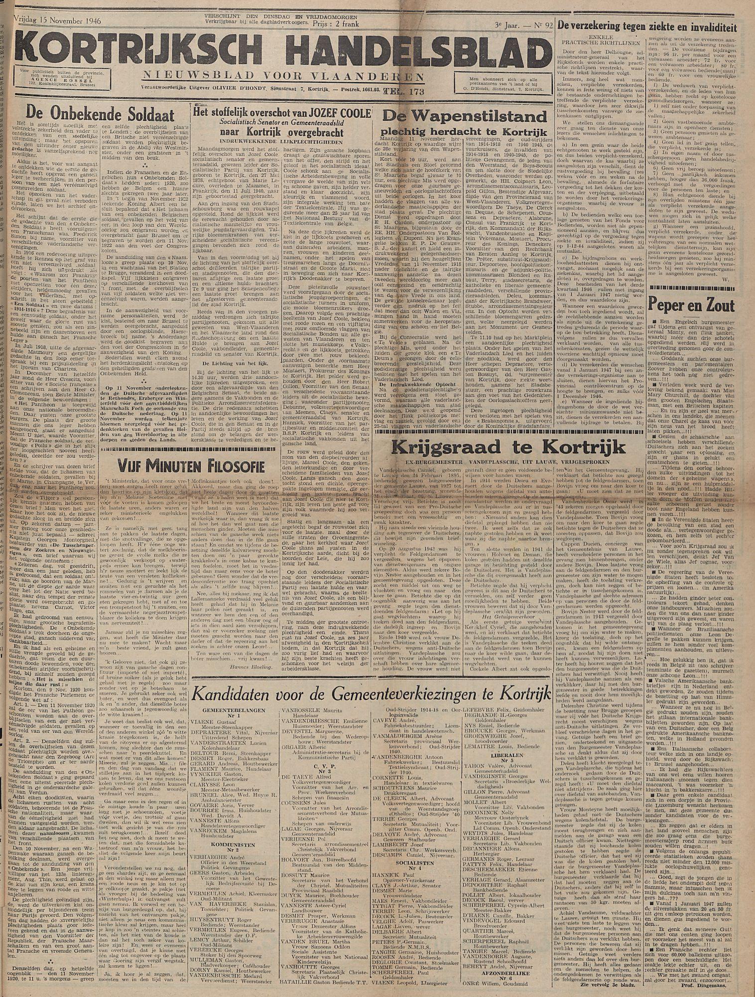 Kortrijksch Handelsblad 15 november 1946 Nr92 p1