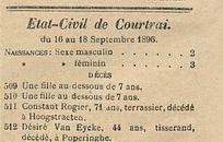 Etat-Civil de Courtrai.
