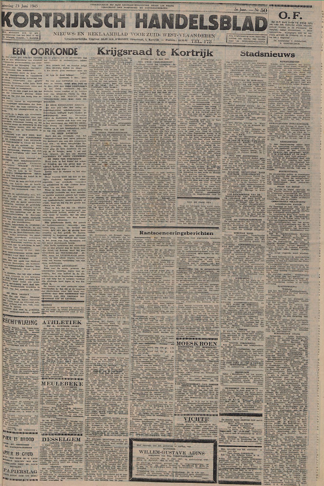 Kortrijksch Handelsblad 23 juni 1945 Nr50 p1