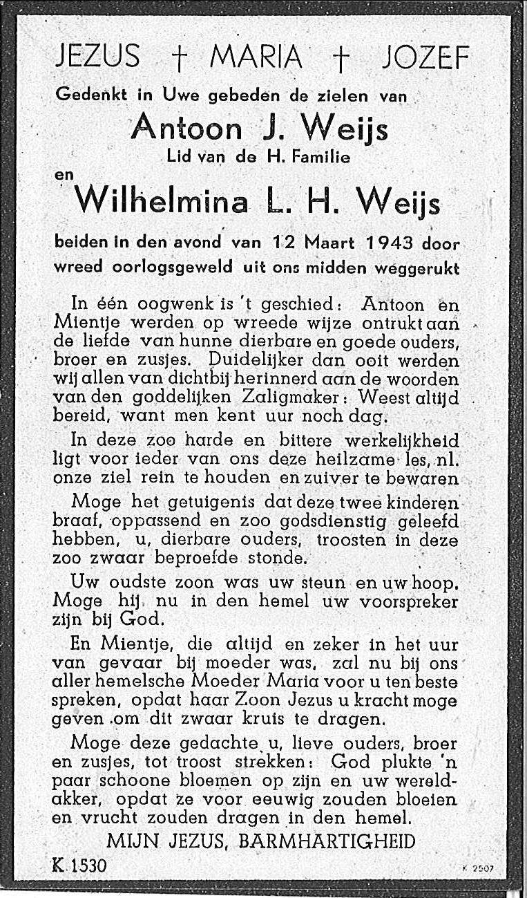 Weijs Antoon J.en Wilhelmina L.H. Weijs