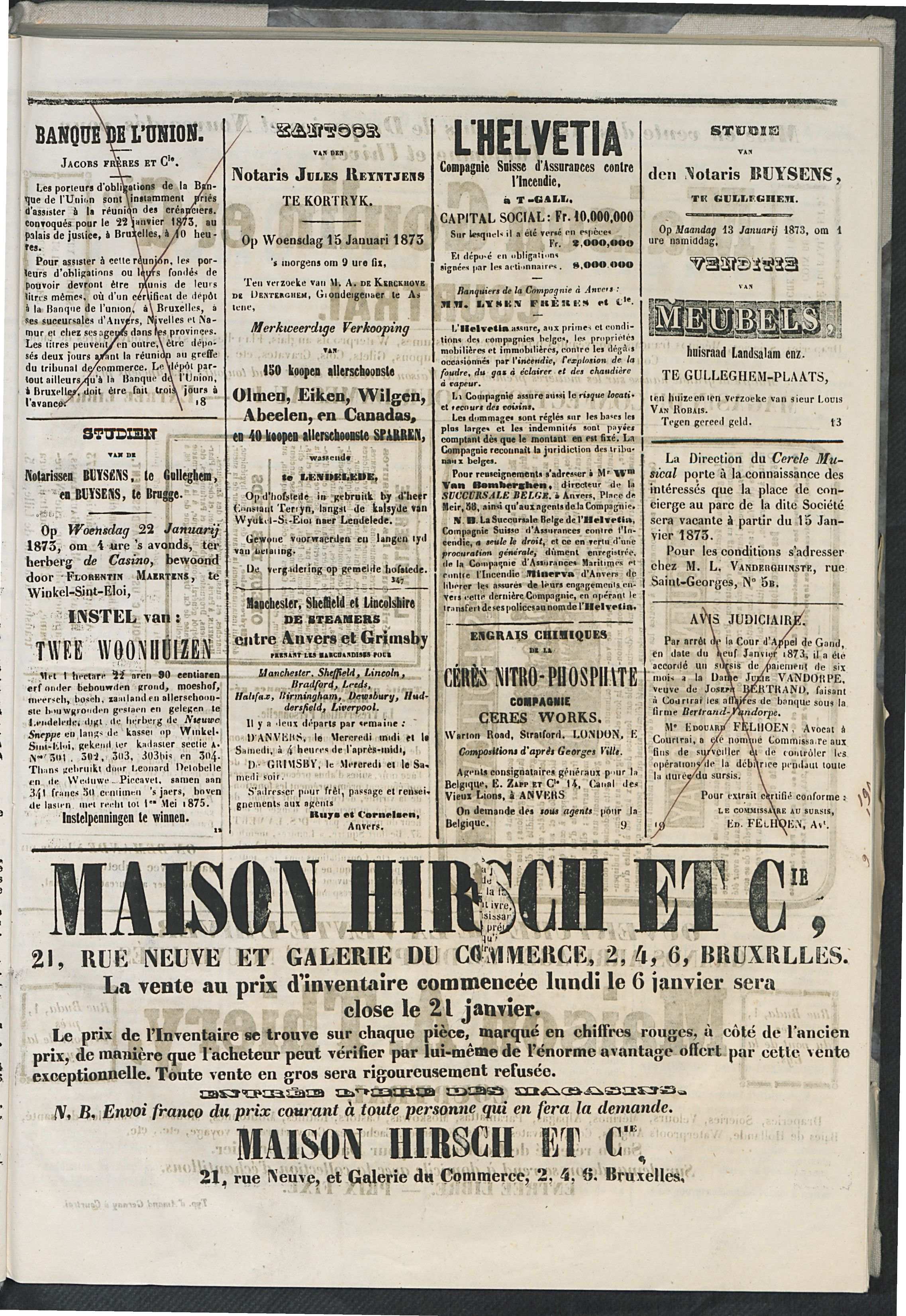 L'echo De Courtrai 1873-01-12 p3