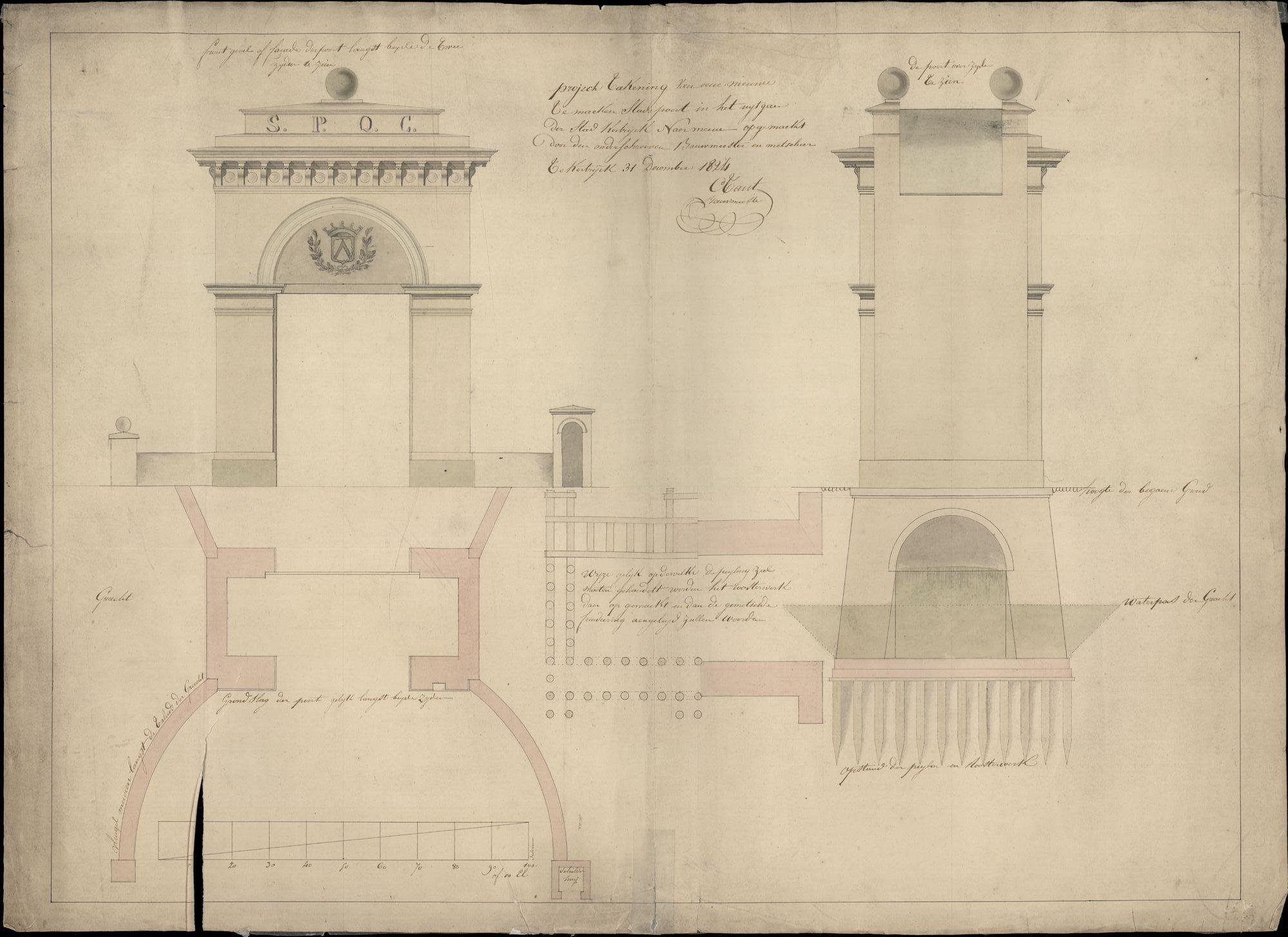 Bouwplan van de Meensepoort te Kortrijk, opgemaakt door C. Tant, 1824