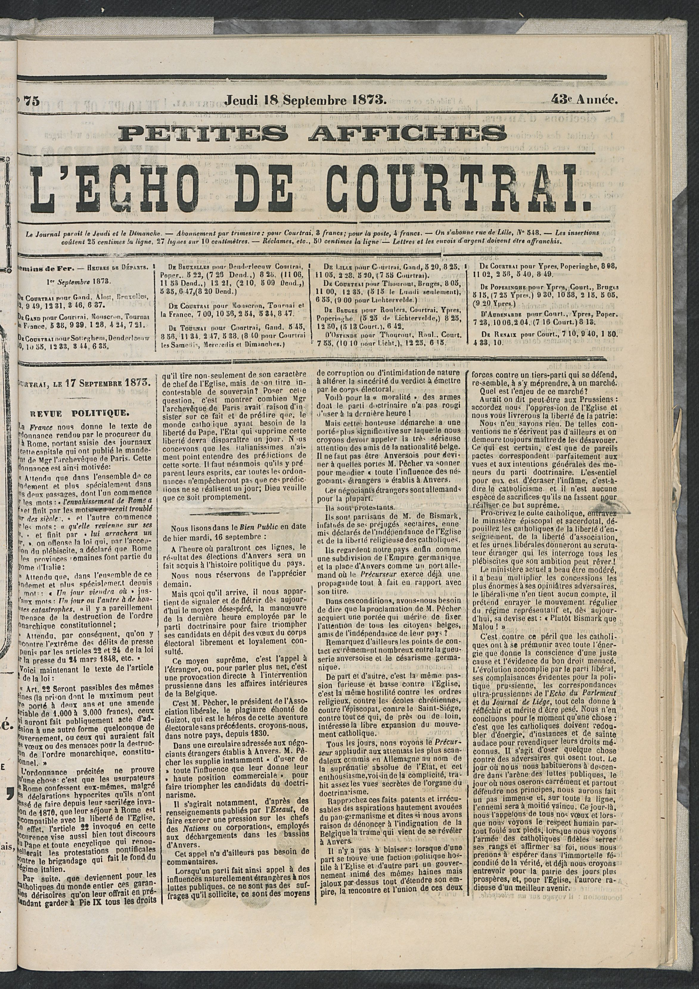 L'echo De Courtrai 1873-09-18 p1