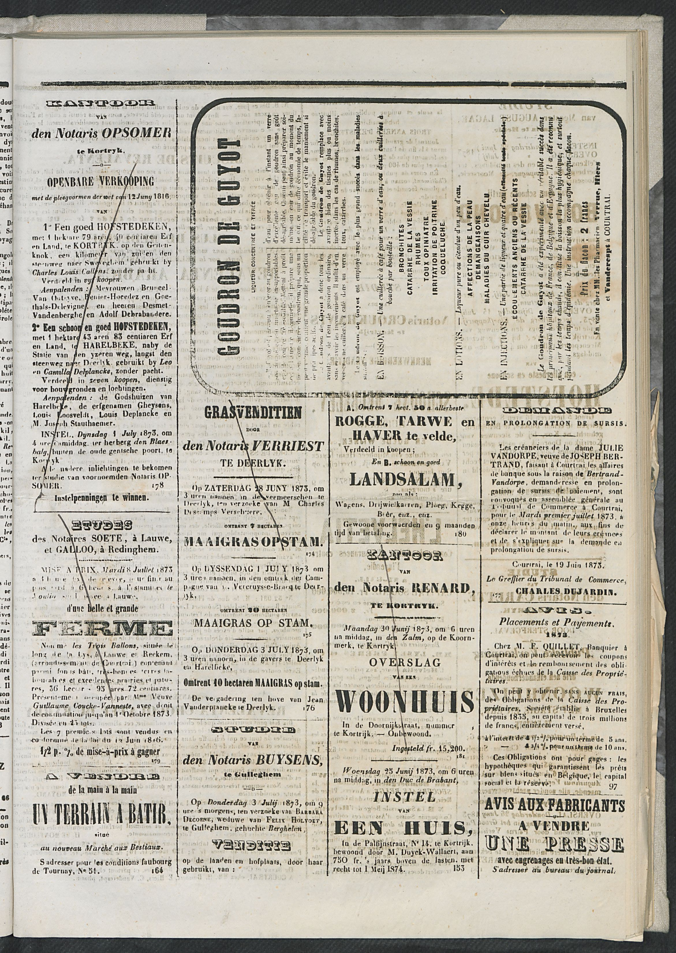 L'echo De Courtrai 1873-06-22 p3
